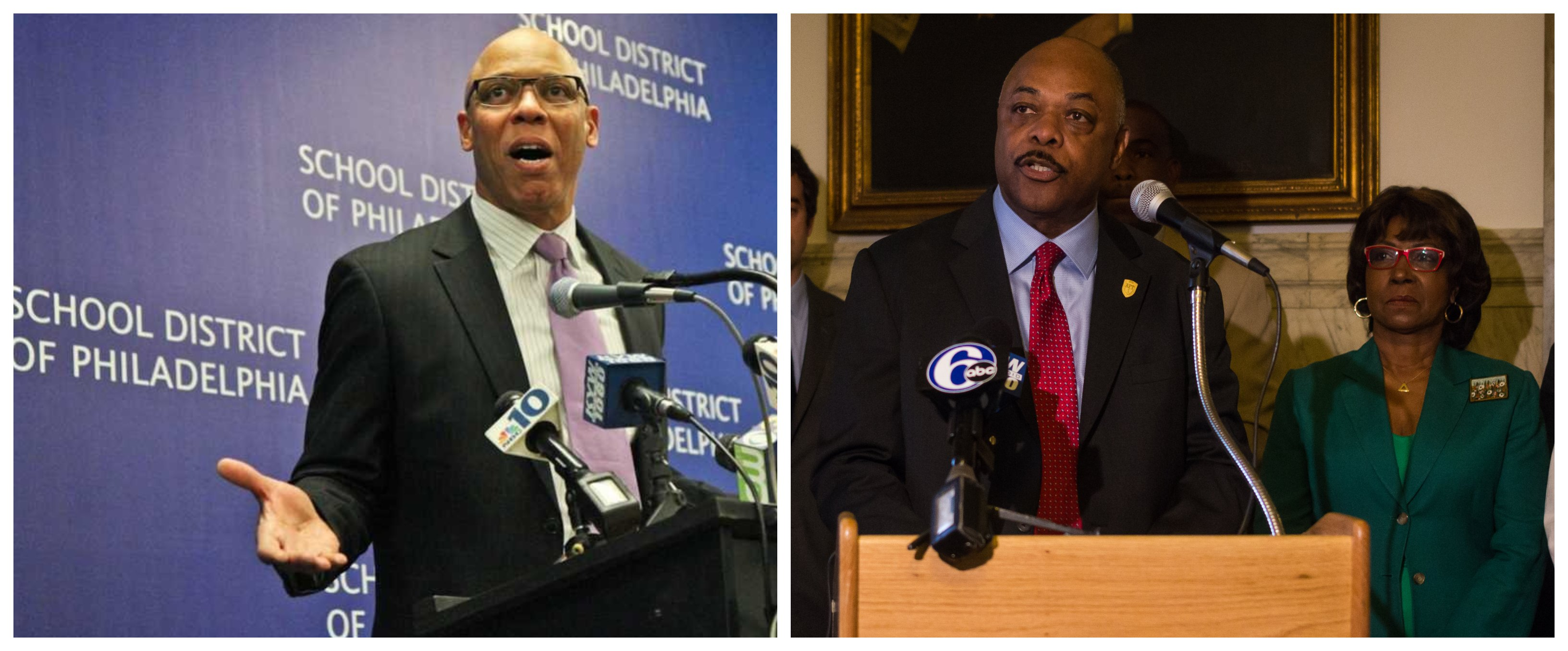 Split image of William Hite speaking at a microphone on the left and Jerry Jordan speaking at a microphone on the right.