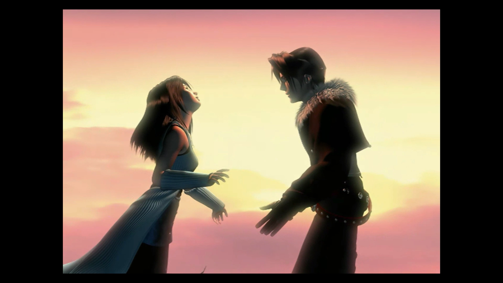 Final Fantasy 8 Remastered - Squall and Rinoa approach each other against a sunset for an embrace.