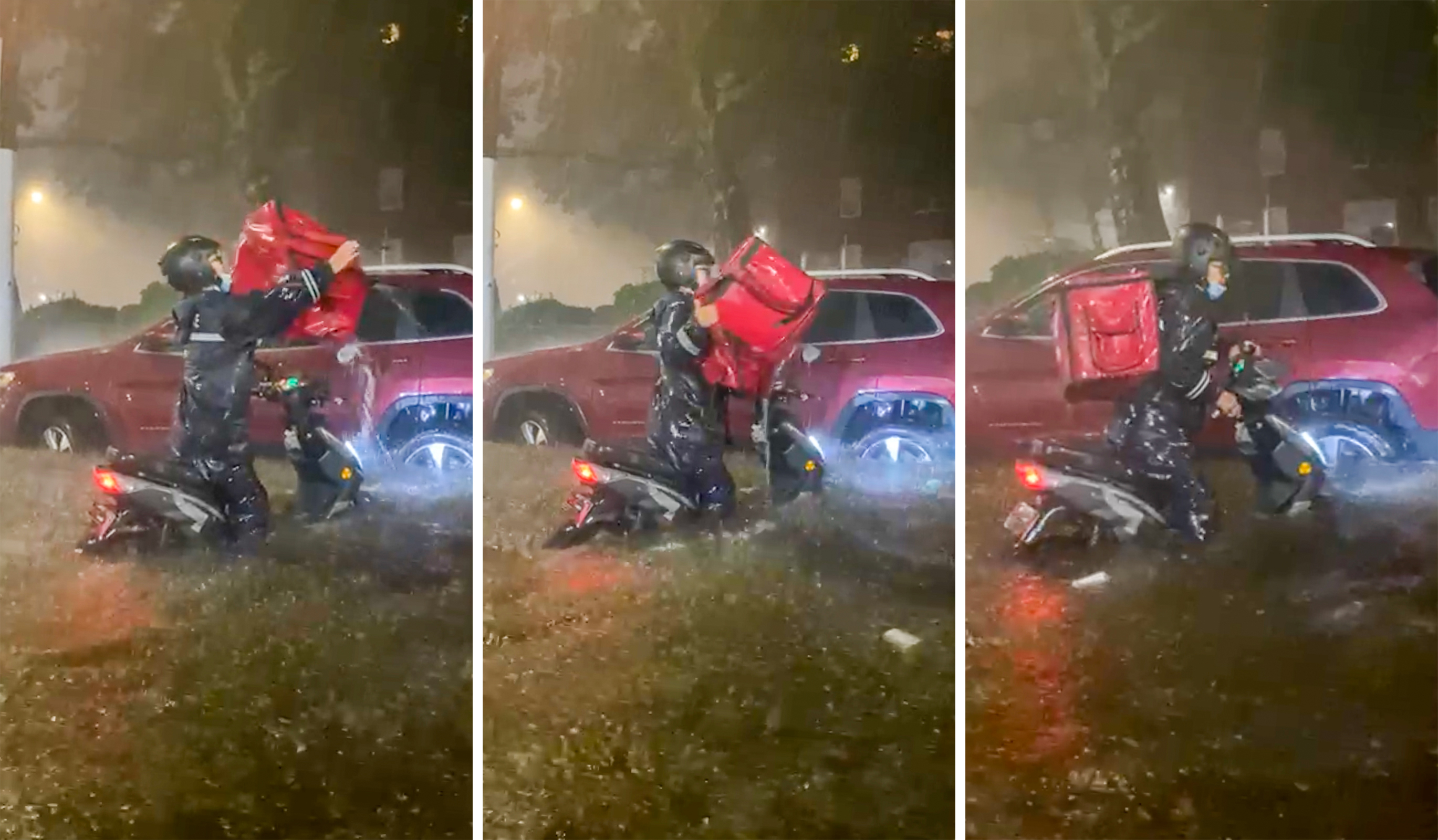Delivery workers in Astoria toiled in waist-deep water for less than $12 an hour as the remnants of Hurricane Ida poured over the region Wednesday night.
