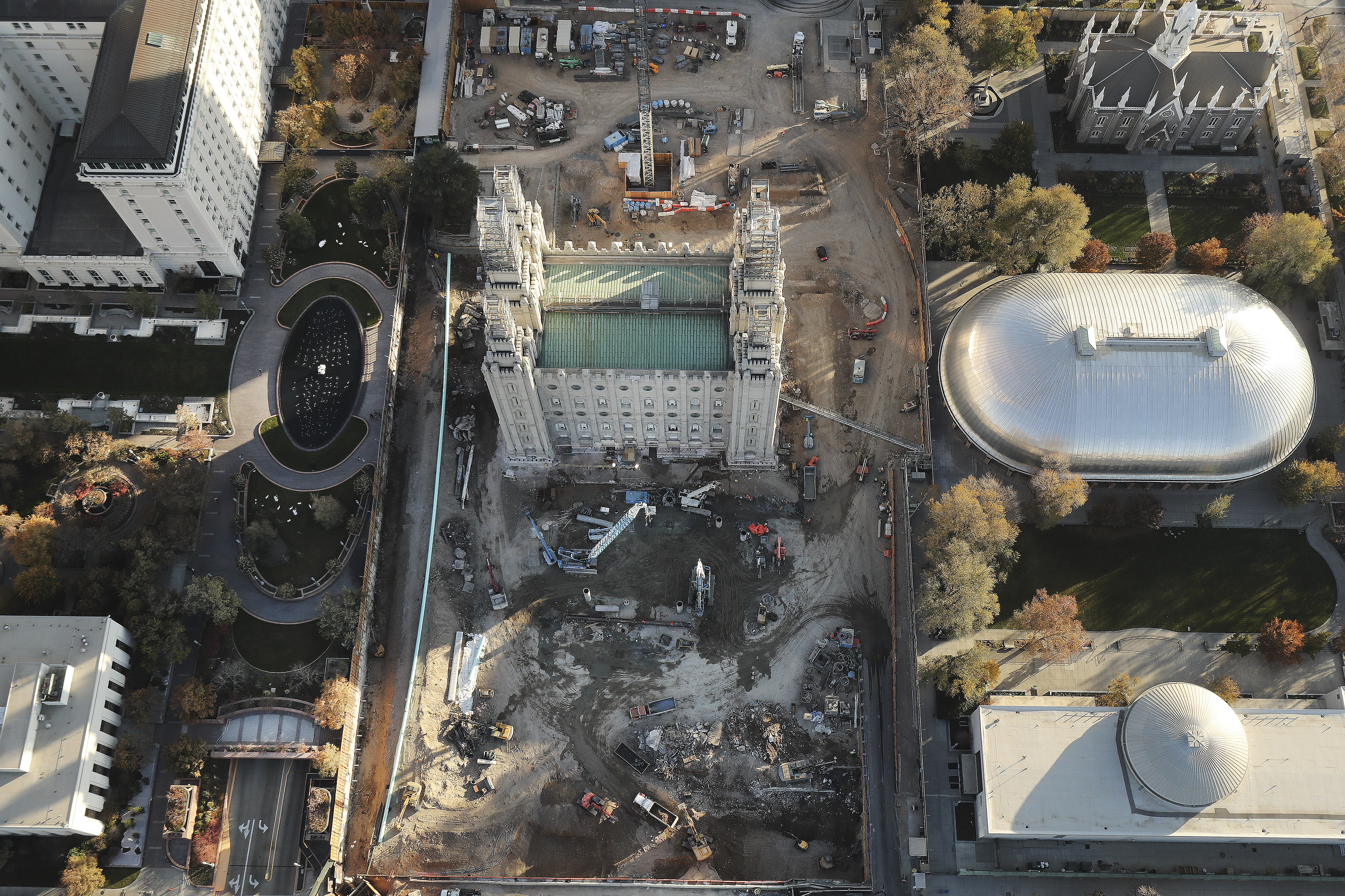 An overhead view of the construction on the Salt Lake Temple at Temple Square in Salt Lake City.