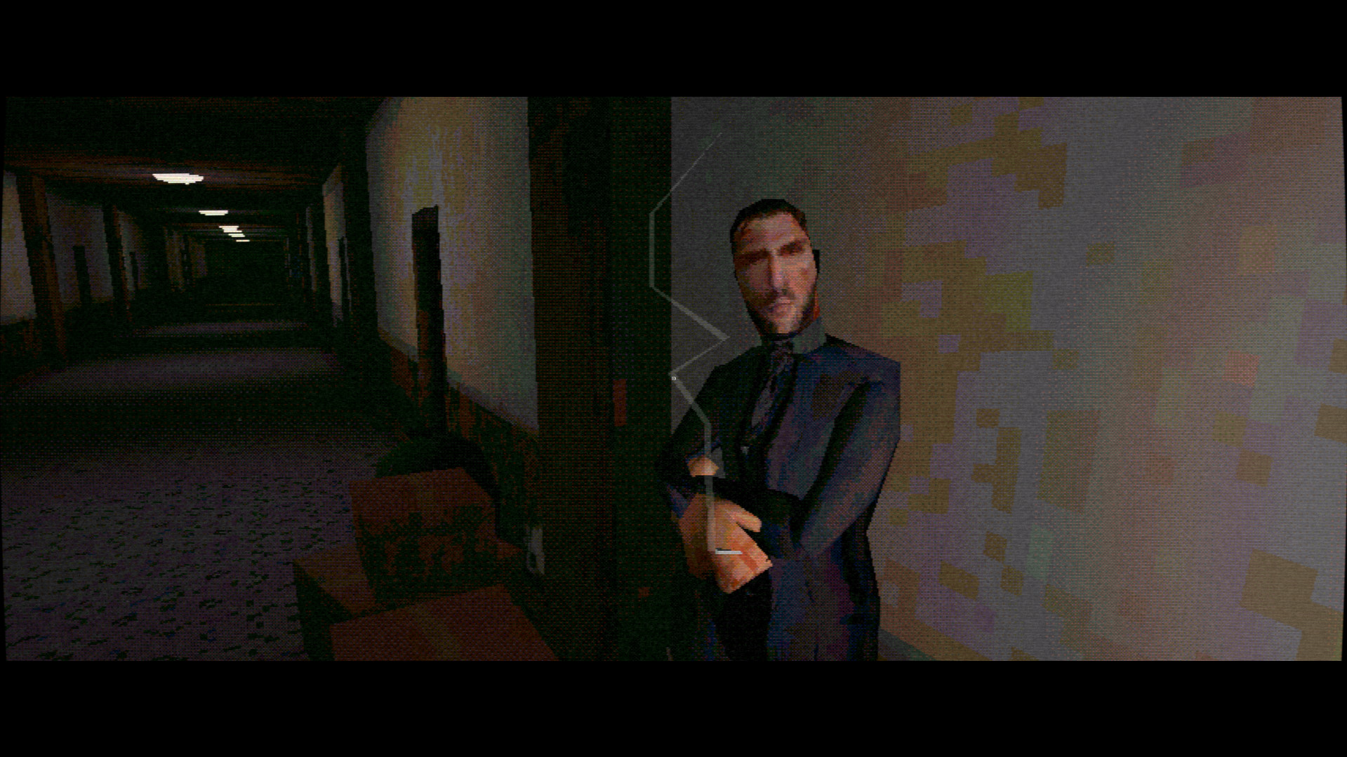 A Nightslink screenshot of a man in a suit smoking in a hallway.