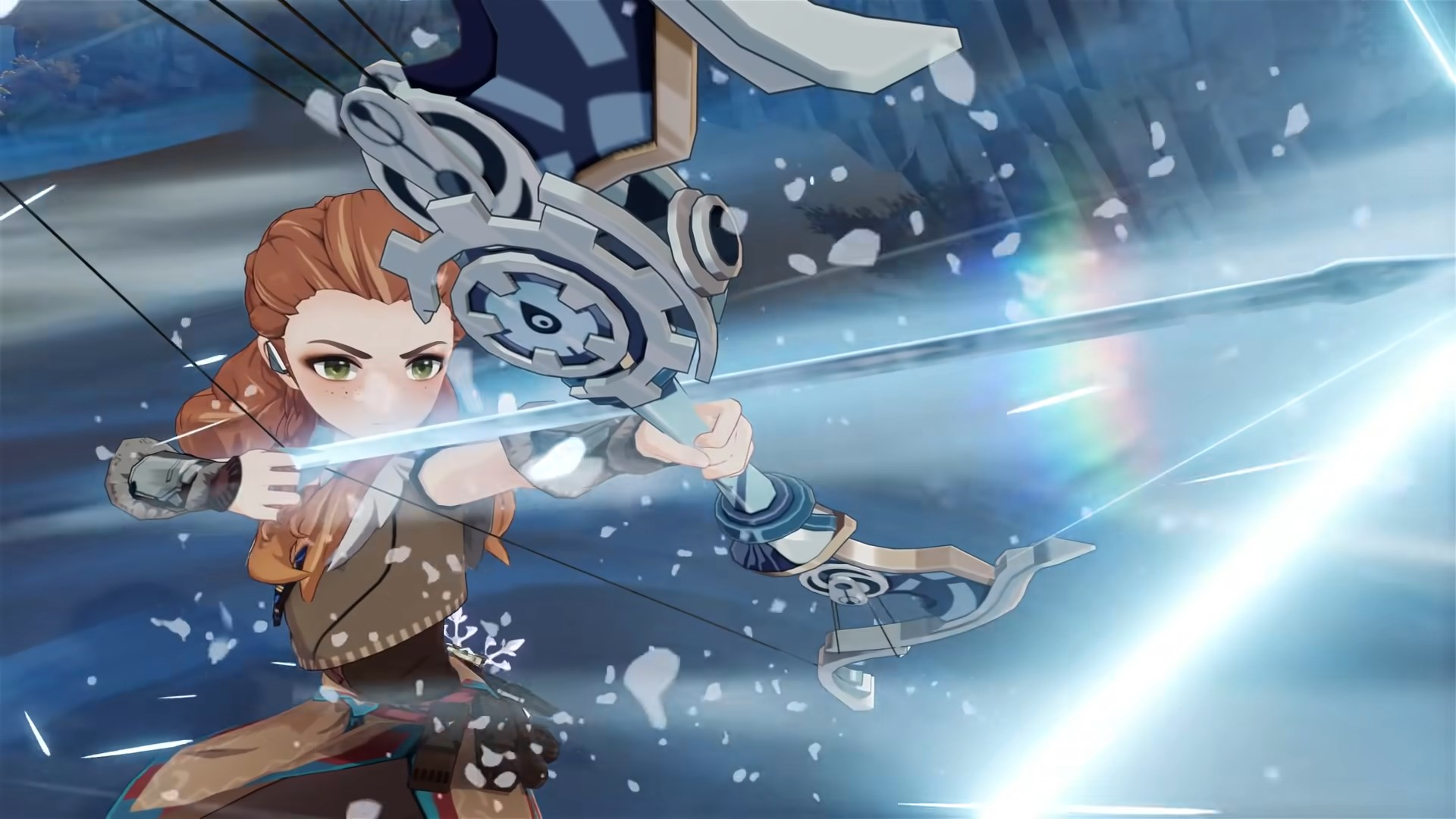 Aloy in Genshin Impact winding up to fire off an icy arrow