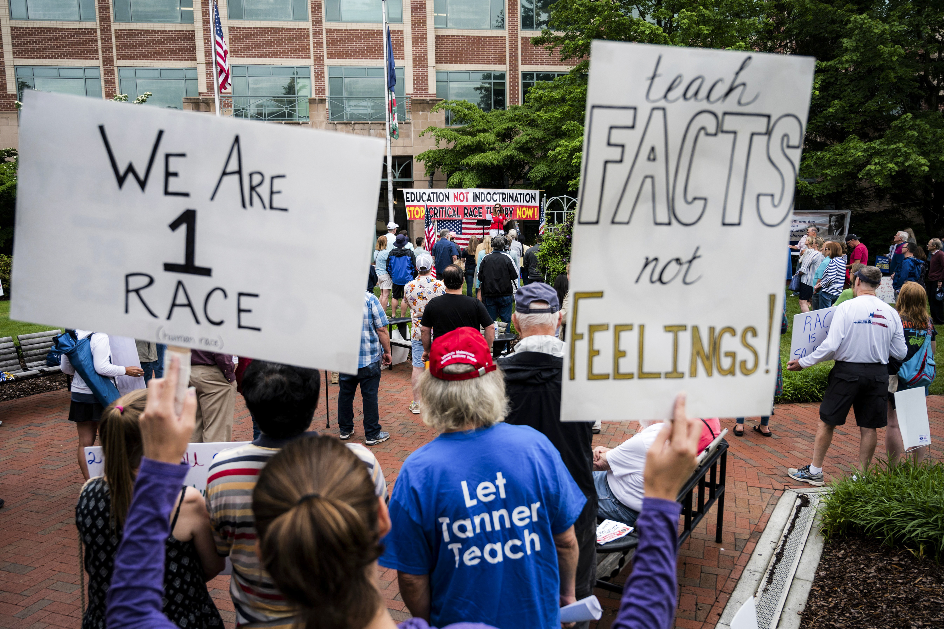 """A group of protesters outside a school hold signs reading """"teach facts, not feelings!"""" and """"We are 1 race."""""""
