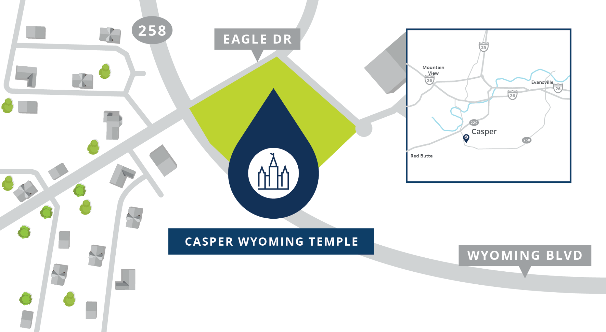 A map shows the location of the Casper Wyoming Temple.