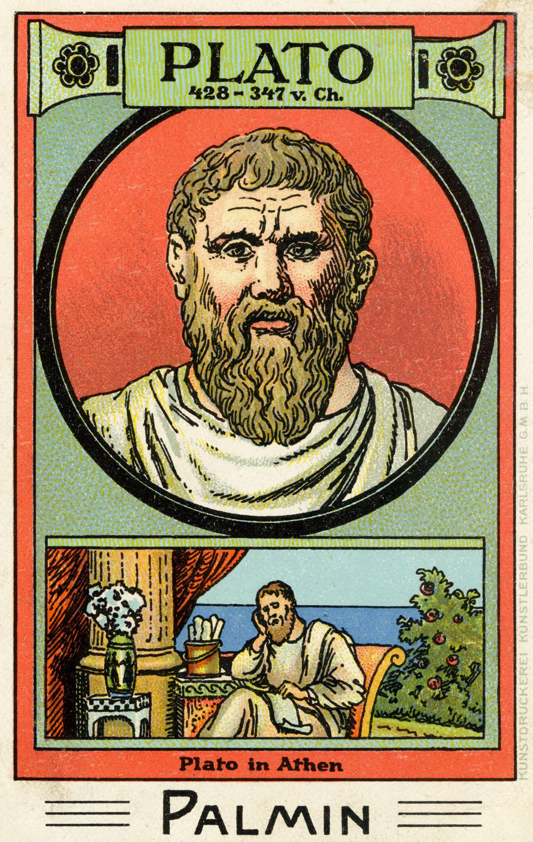 Plato - illustrated portrait. Greek philosopher, 428 - 347 AD.