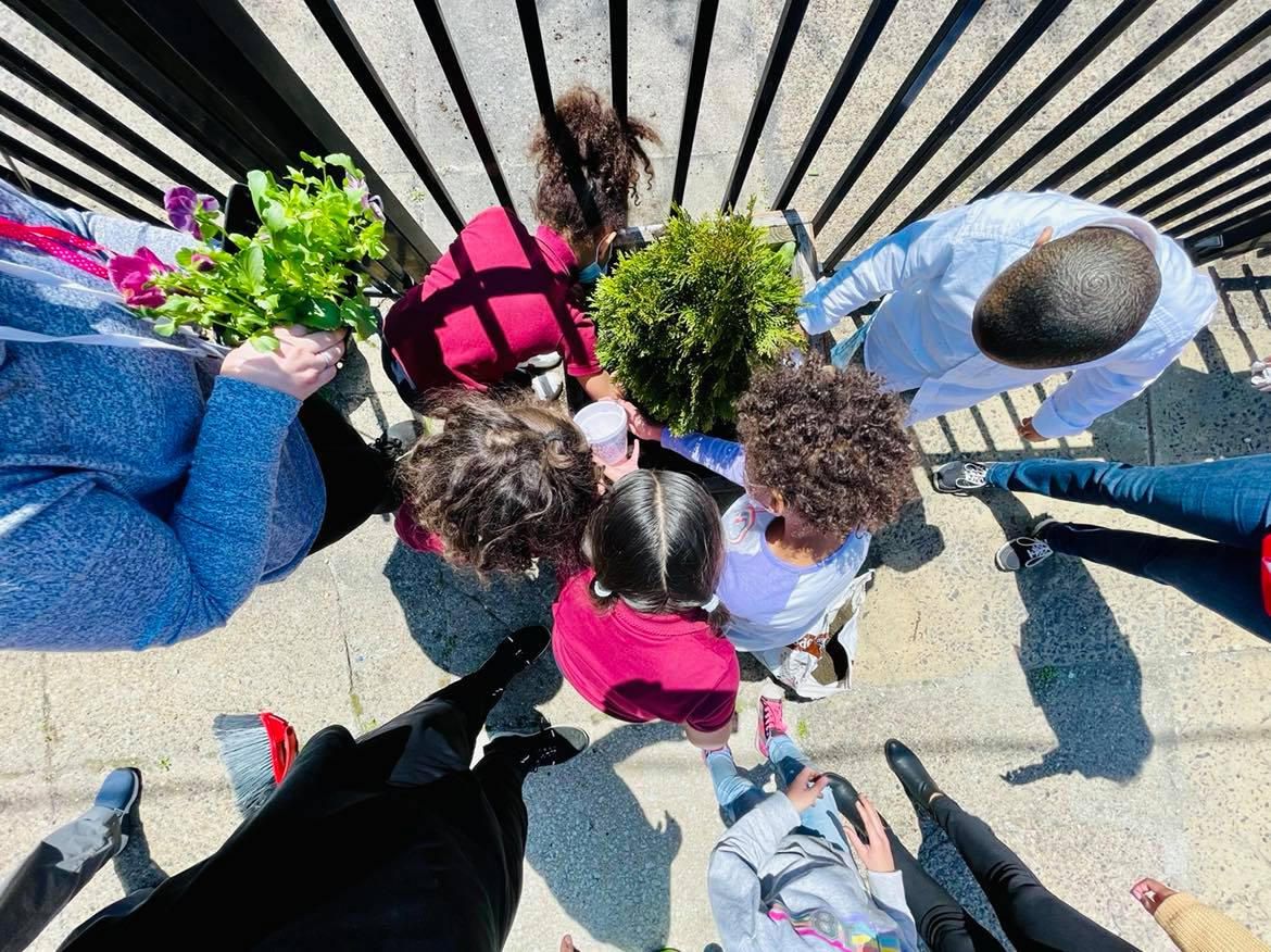 A group of students with colorful shirts hold lush green plants while standing on a sidewalk.