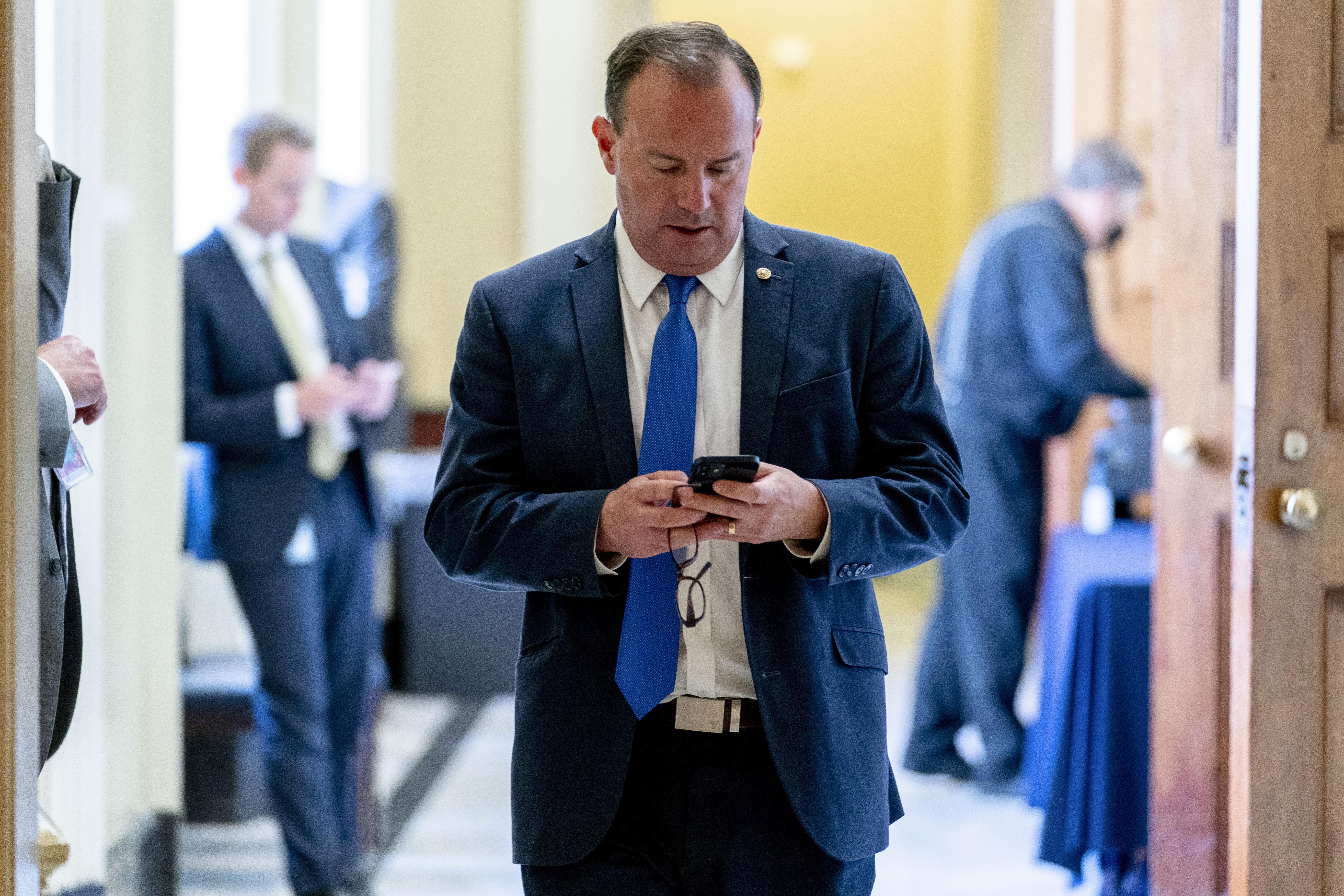 Utah Senator Mike Lee at the Capitol in Washington.