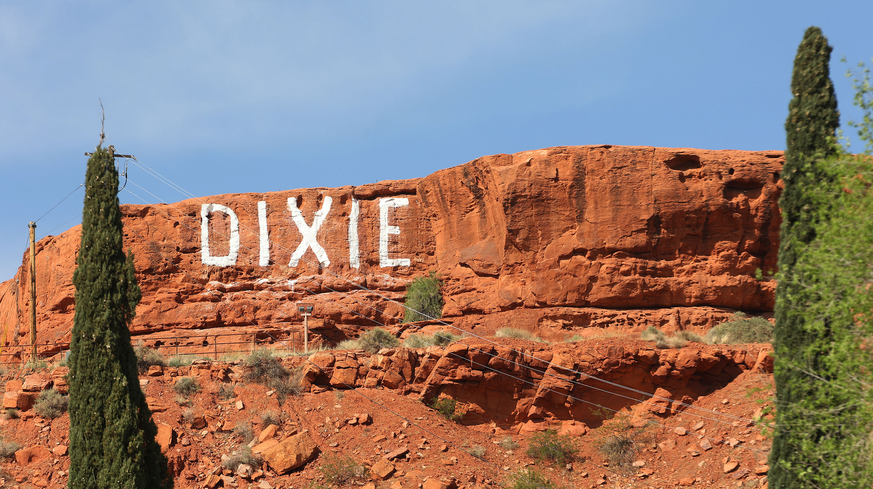 """The word """"Dixie"""" appears on a bluff in St. George."""