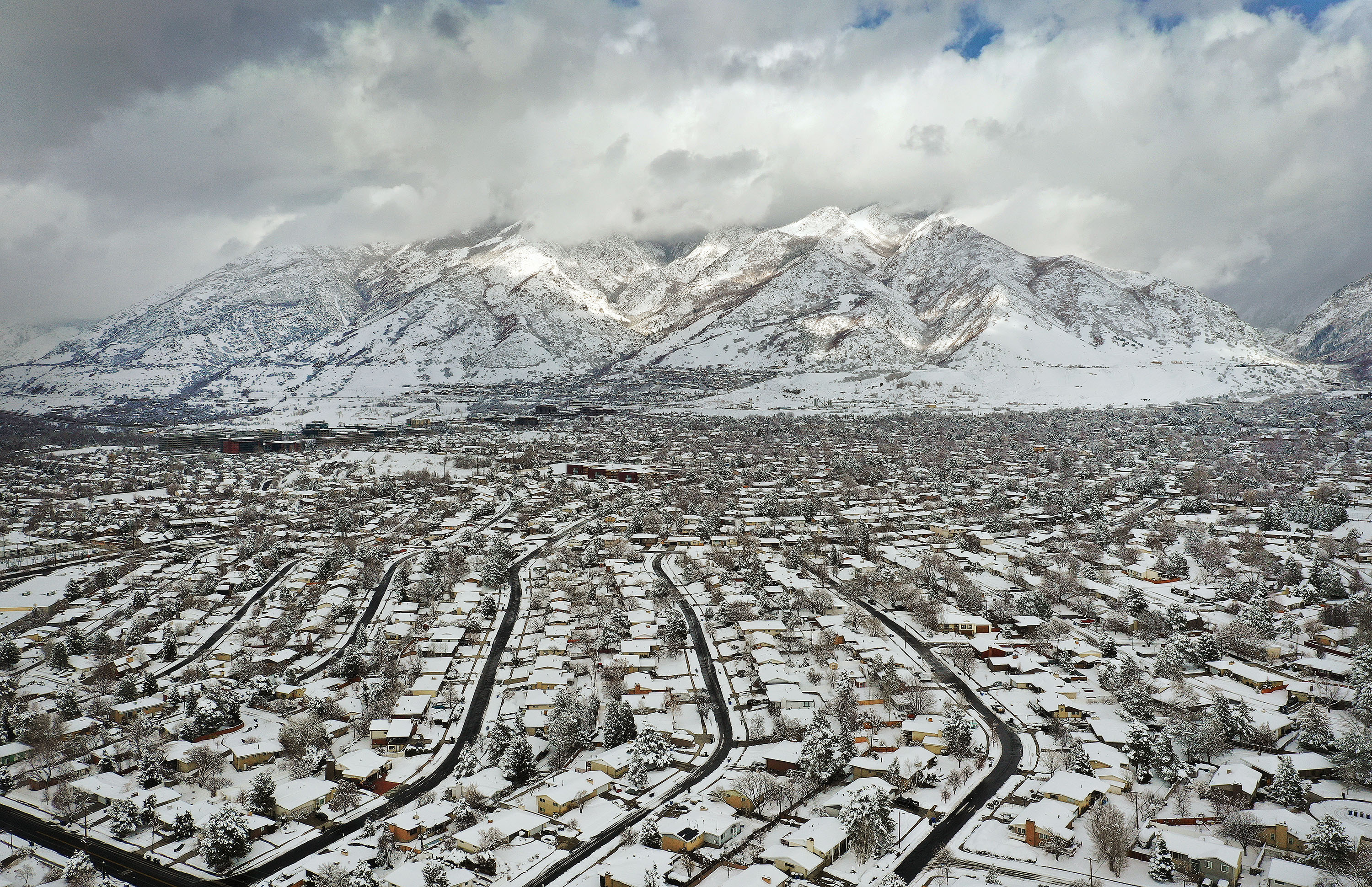 Snow covers the Salt Lake Valley and Wasatch Mountains on Wednesday, Feb. 17, 2021.