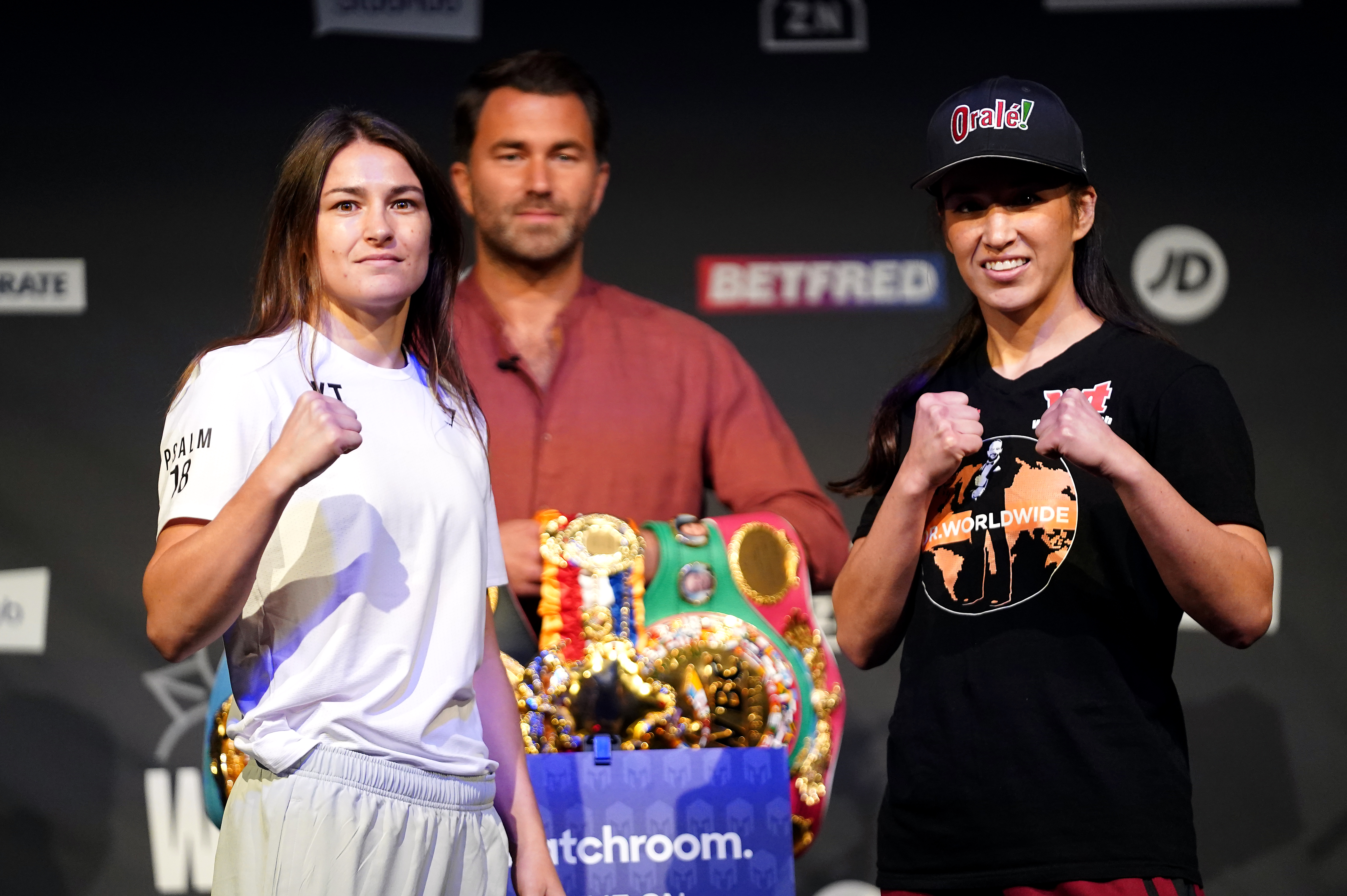 Katie Taylor (left) and Jennifer Han during the weigh-in at the New Dock Hall, Leeds.