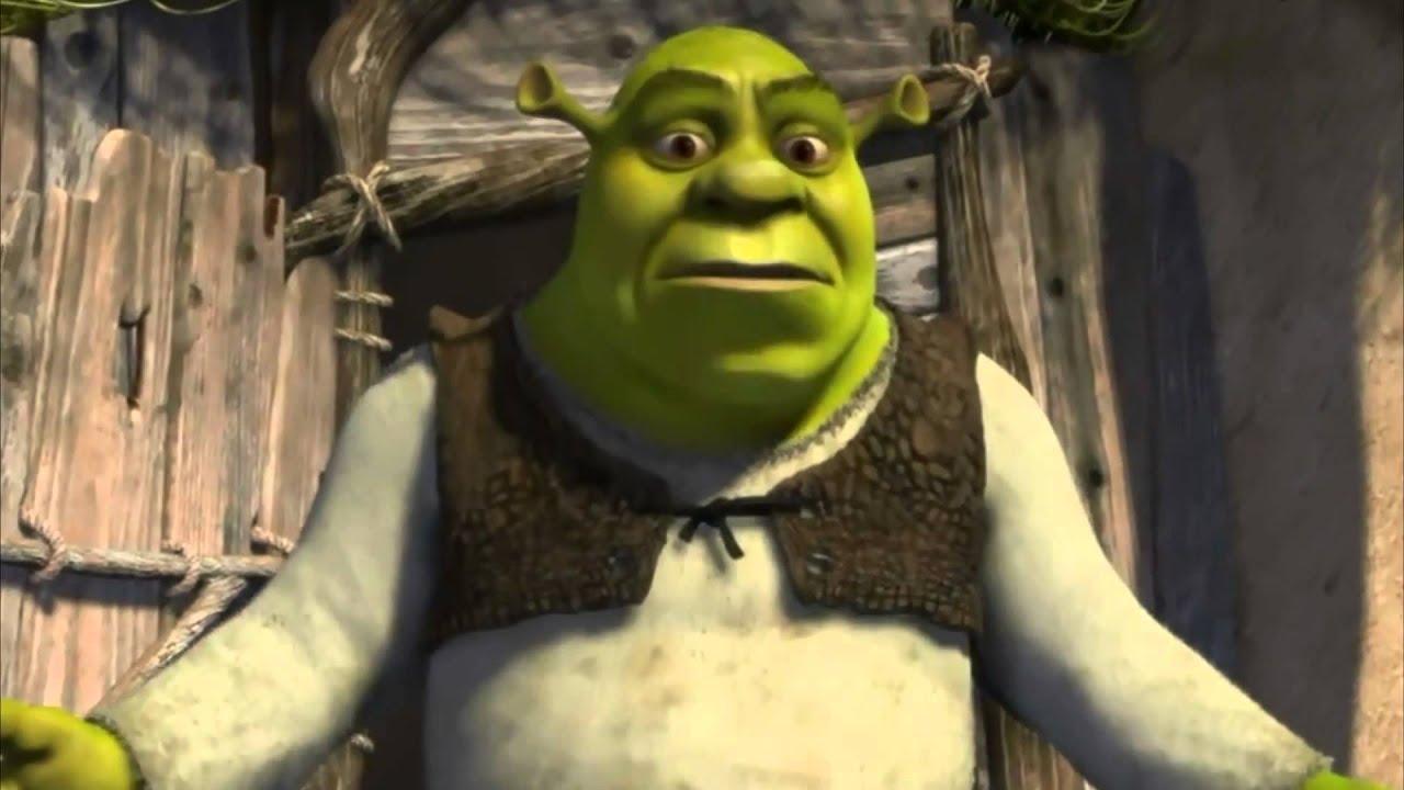 Shrek, aghast, wondering what someone is doing in his swamp.
