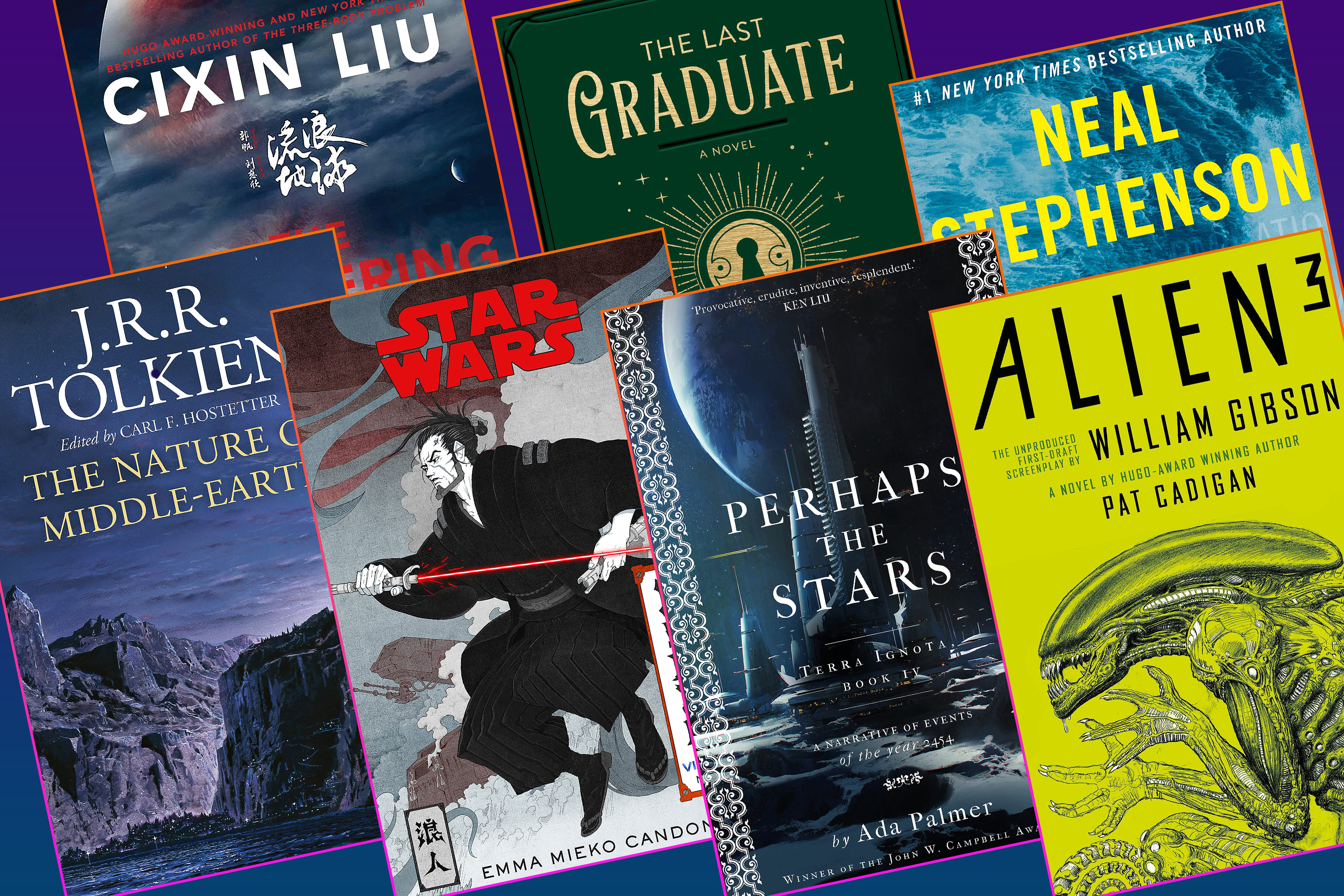 Graphic featuring seven book covers