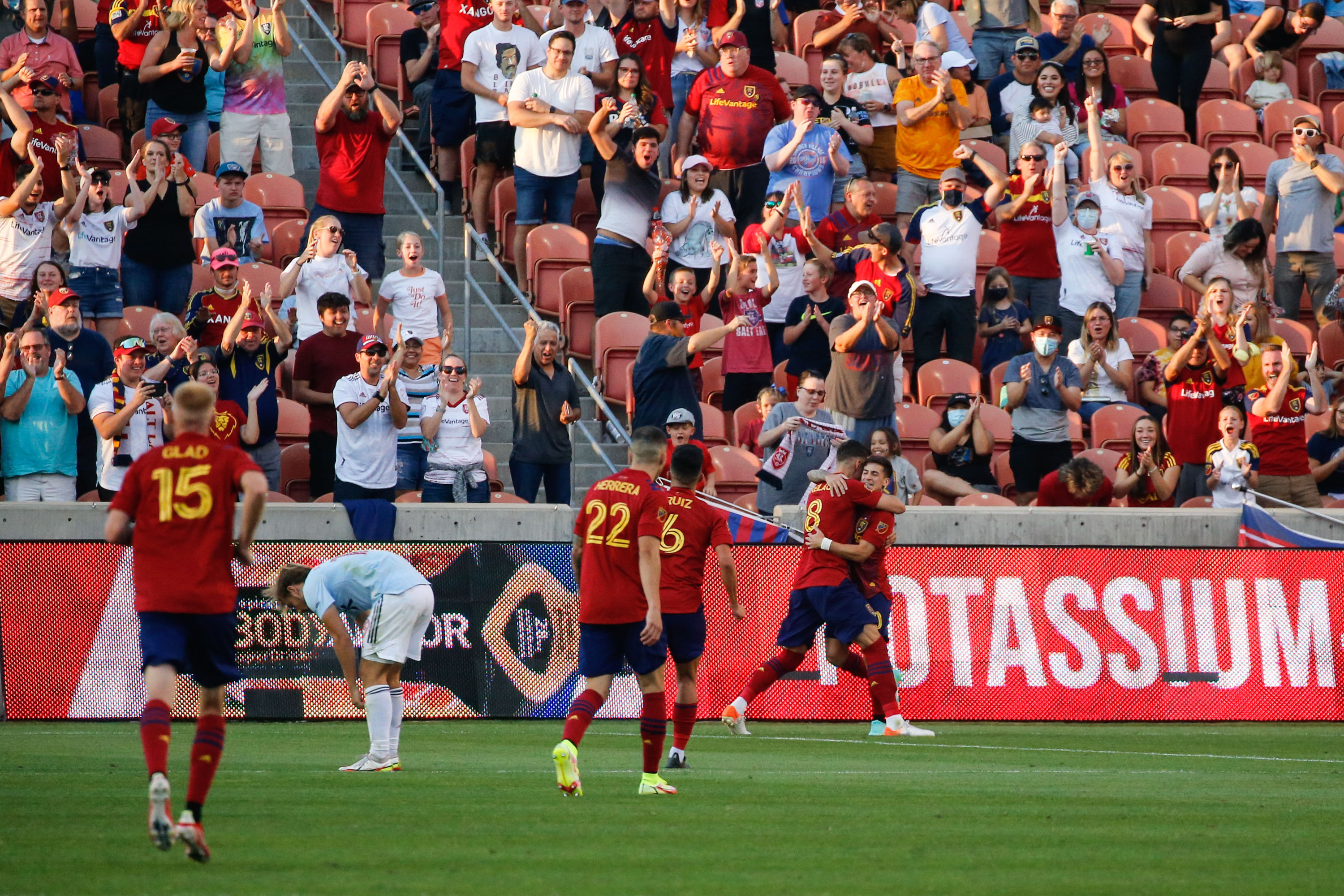 Real Salt Lake players celebrate after scoring their second goal during the second half of an MLS soccer match against FC Dallasin Sandy on Saturday, Sept. 4, 2021. Real Salt Lake won 3-2.