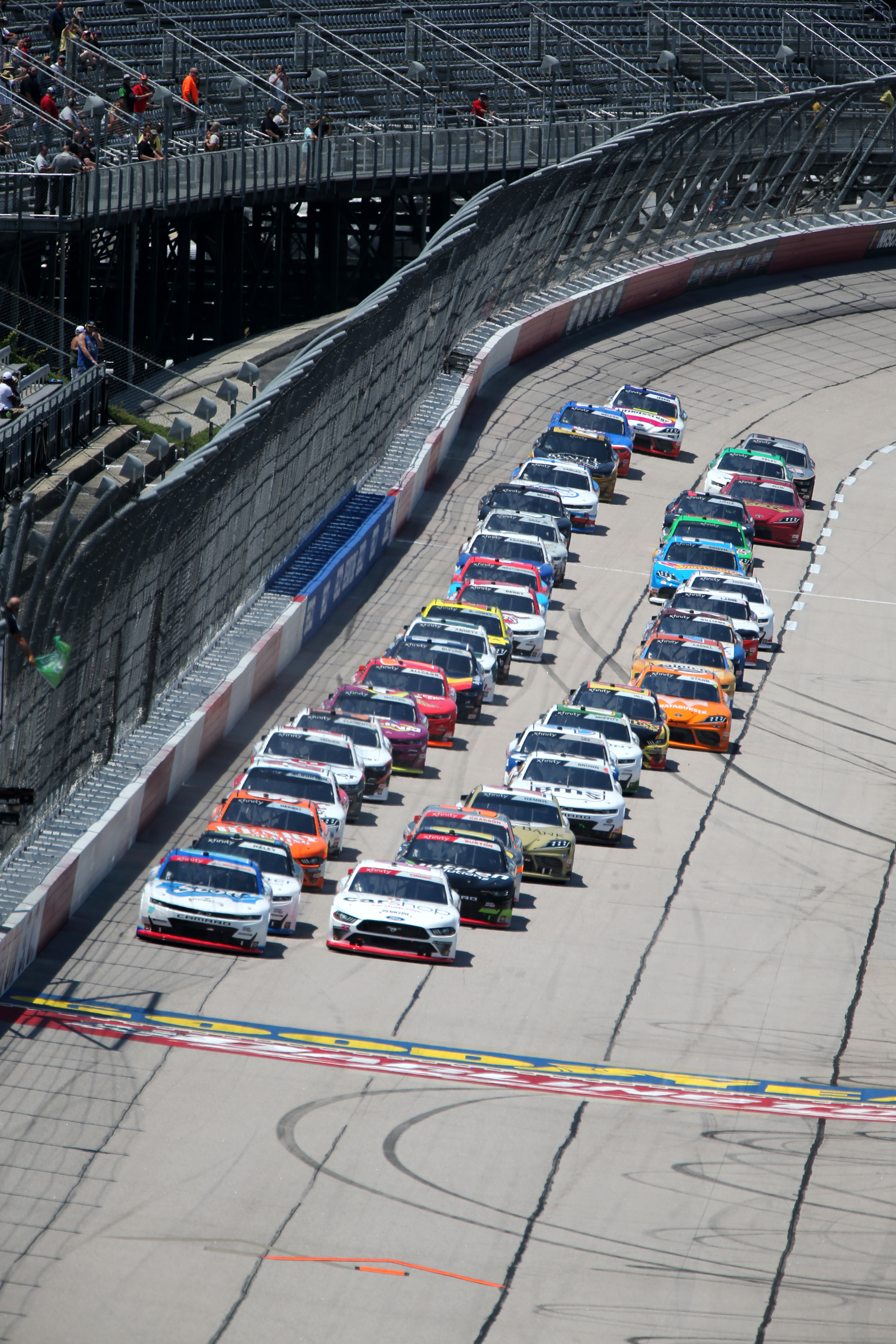 The starting field takes the green flag during the running of the Steakhouse Elite 200 on May 8, 2021 at Darlington Raceway in Darlington South Carolina