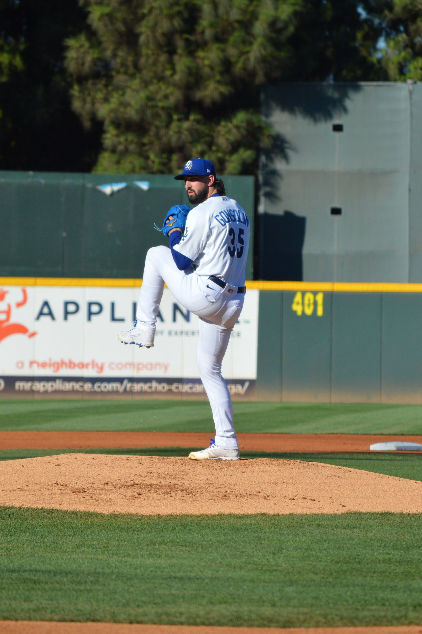 Dodgers right-hander Tony Gonsolin pitches on a minor league rehab assignment with Low-A Rancho Cucamonga on Saturday, September 4, 2021.