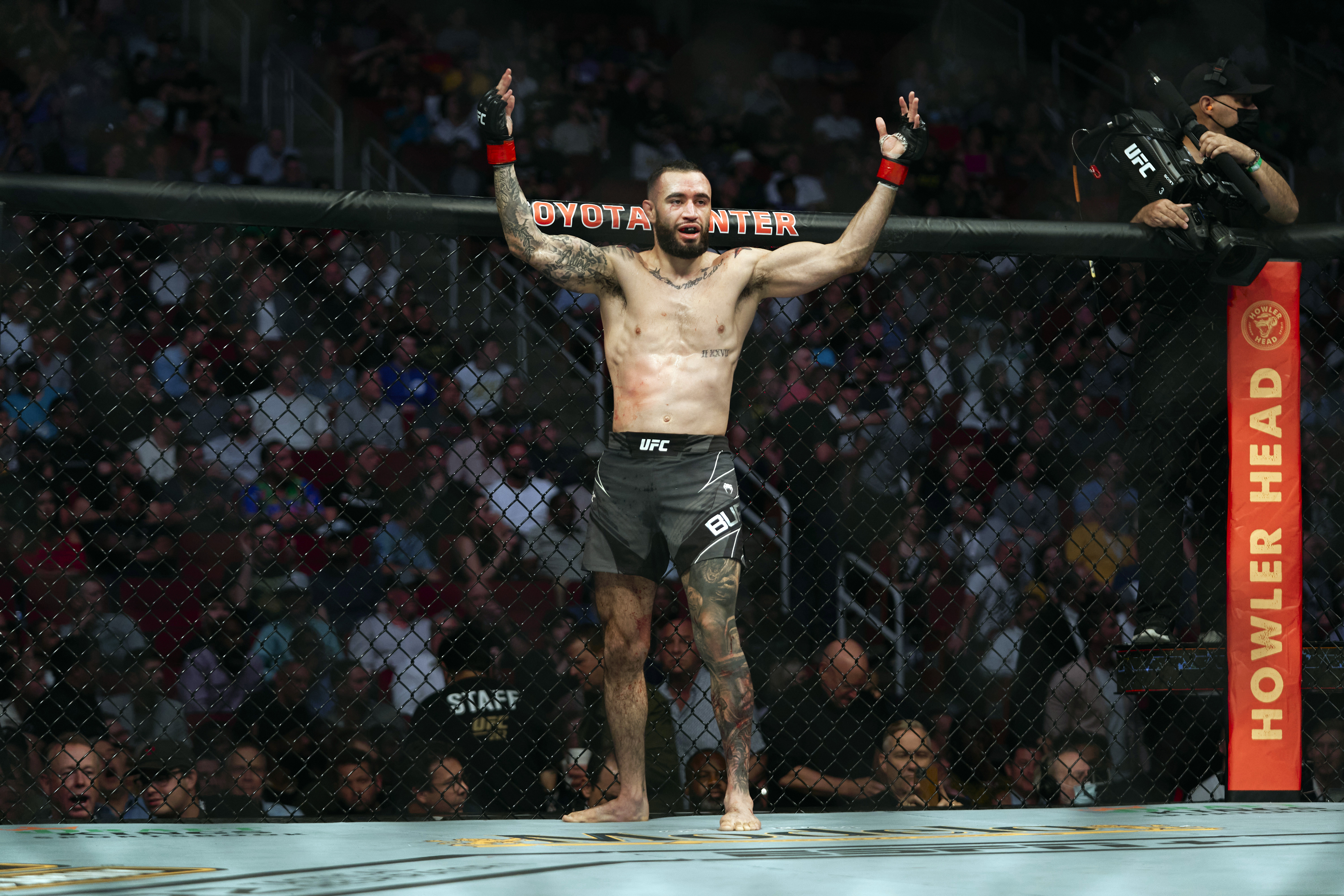 Shane Burgos before his fight against Edson Barboza at UFC 262 in May.