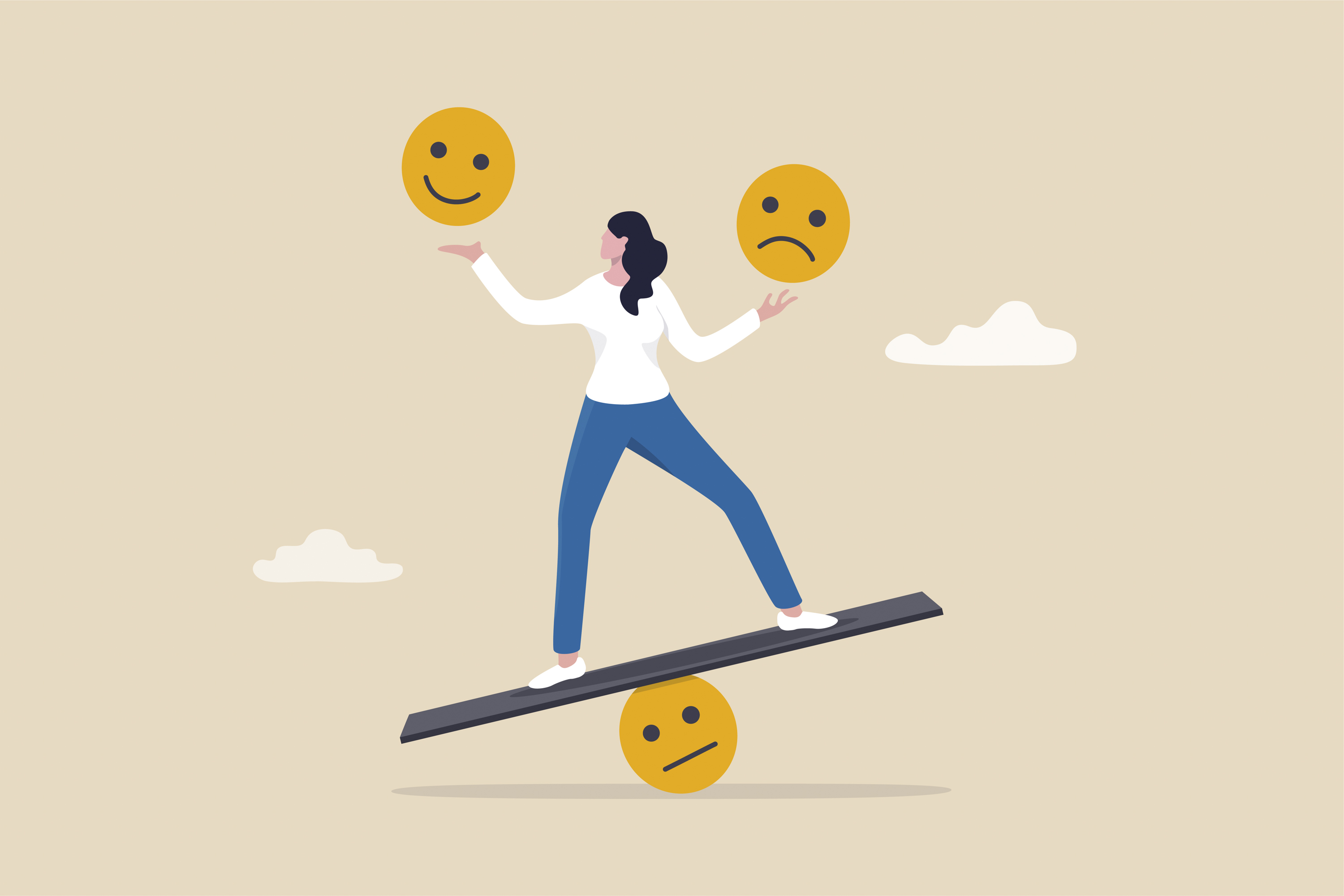 A drawing of a person on a balance board with a smiley face over one hand and a frown face over the other.