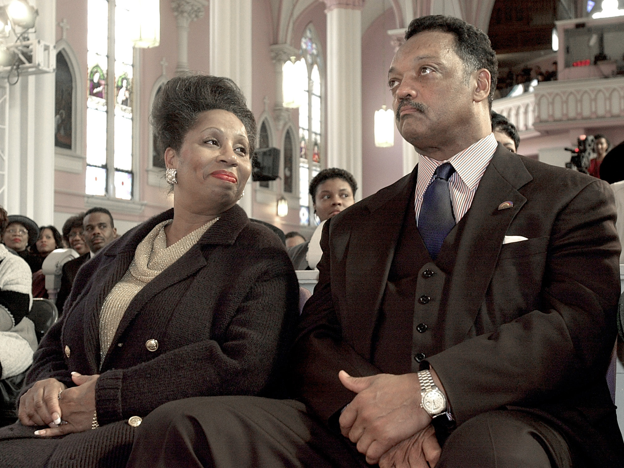 Jacqueline Jackson and Rev. Jesse Jackson photographed in 2001. Both were hospitalized with COVID-19 and are showing signs of improvement, according to the couple's son.