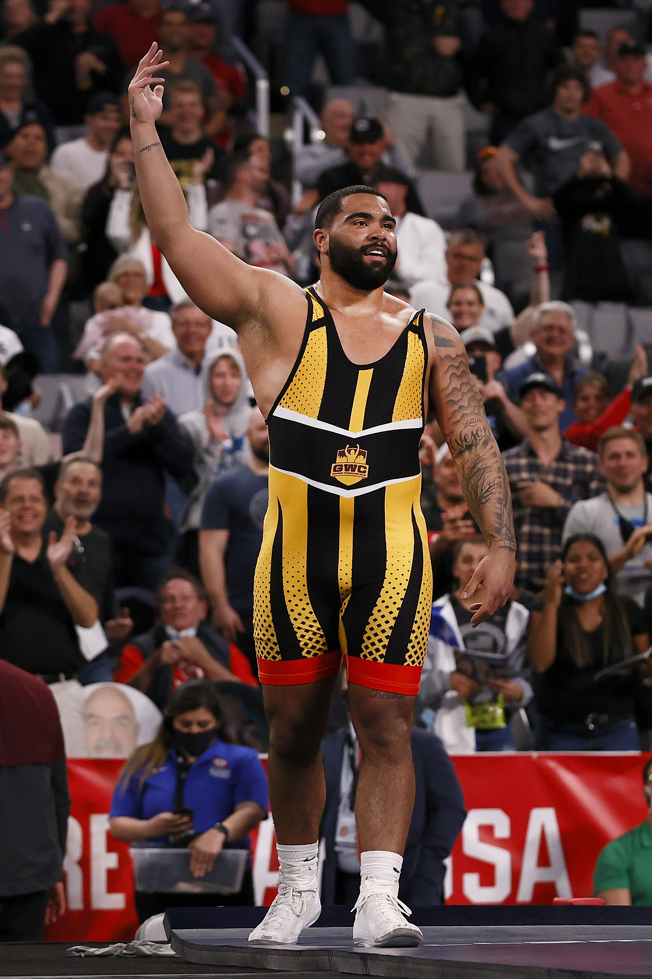Gable Steveson celebrates a victory at the 2021 Olympic Team Trials.