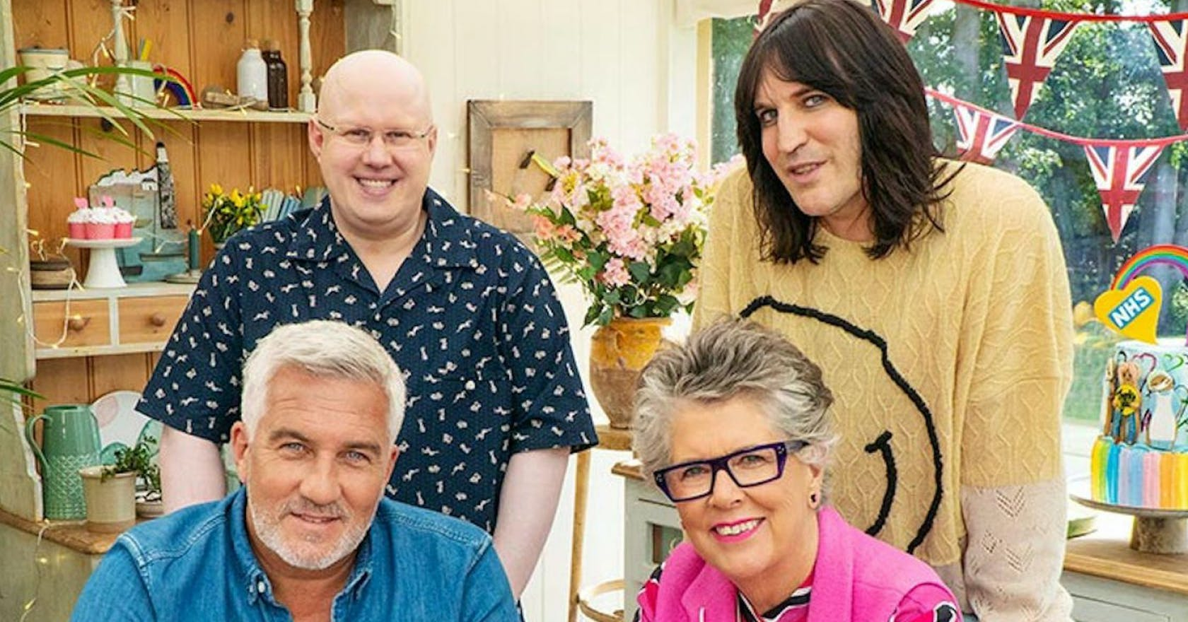 Clockwise from top left, Matt Lucas; Noel Fielding; Prue Leith; and Paul Hollywood of Great British Bake Off.