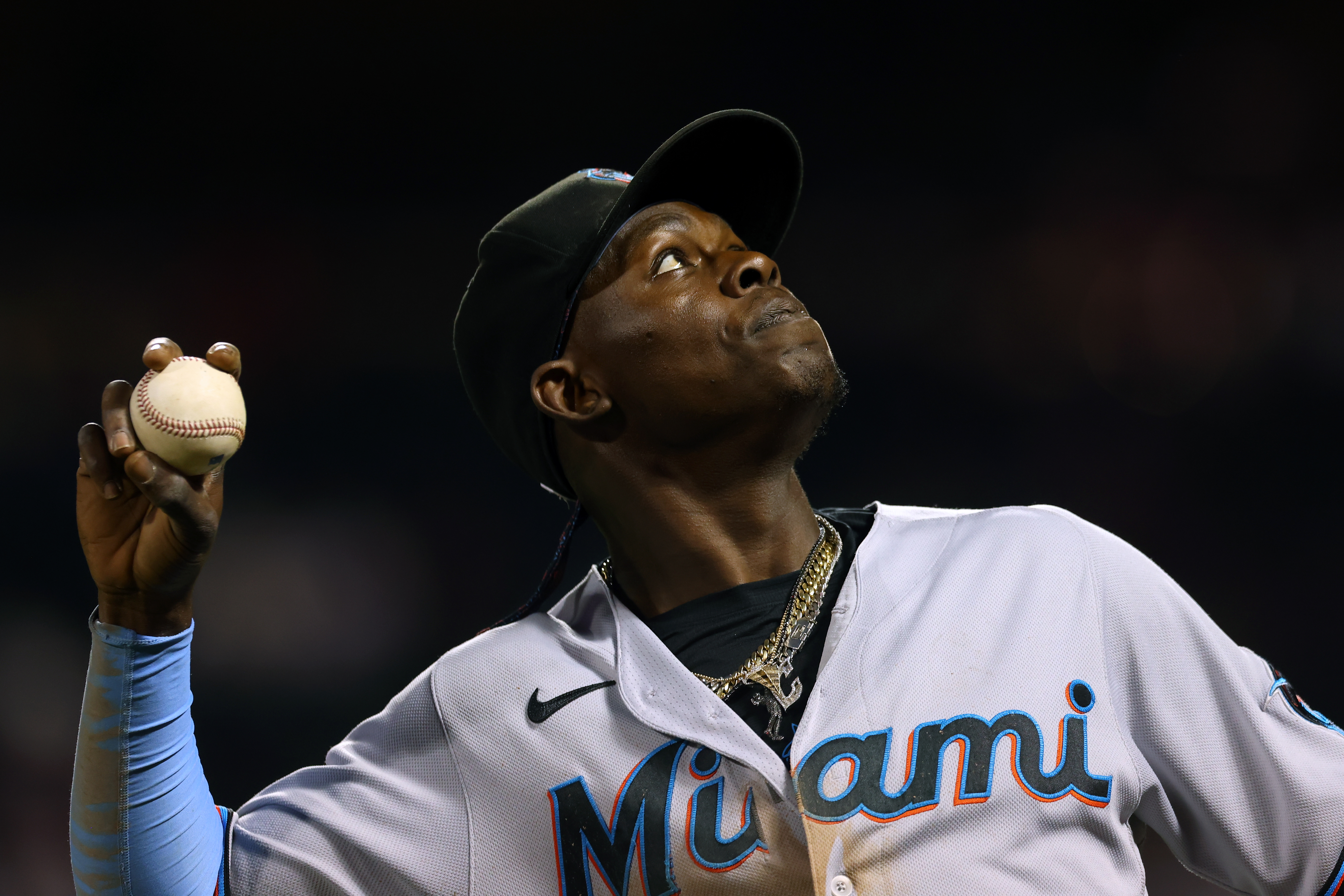 Jazz Chisholm Jr. #2 of the Miami Marlins in action against the New York Mets during a game at Citi Field