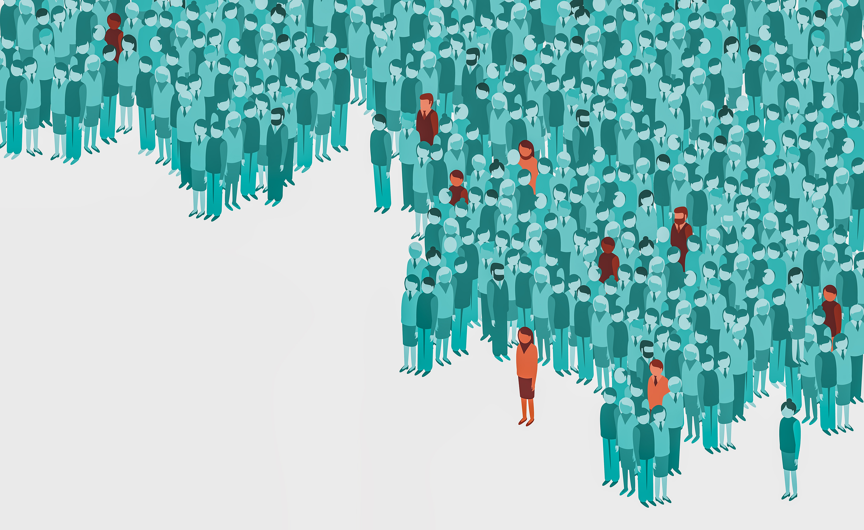 Illustration of single cases ofviral contamination in a huge crowd of healthy people.
