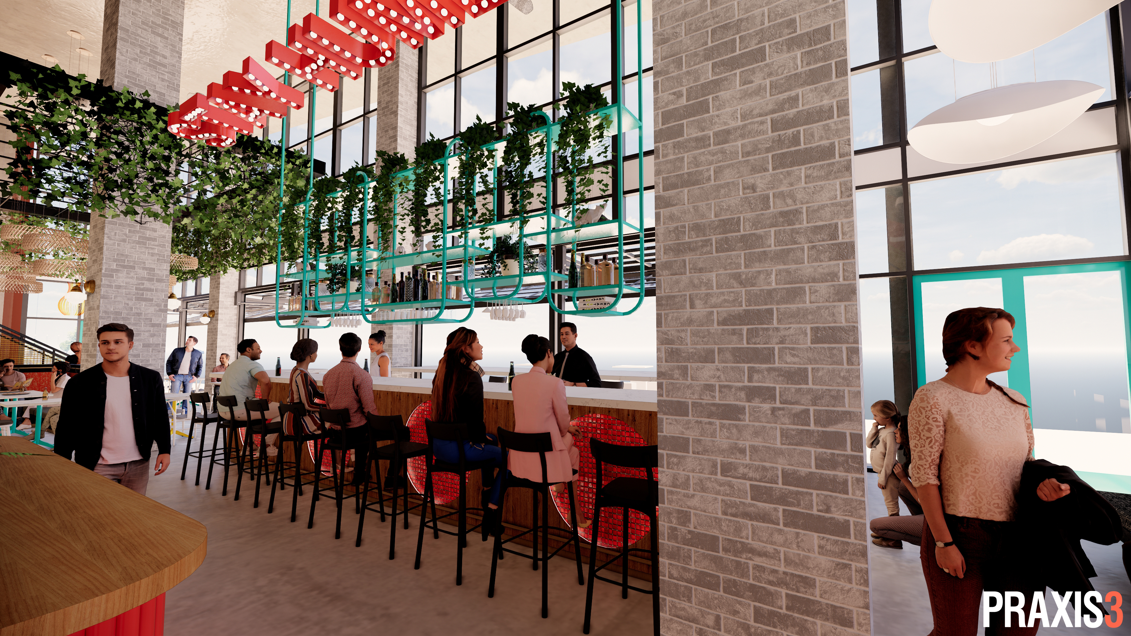 A rendering of the bar area of Humble Pie, opening at the Interlock on Howell Mill Road, Atlanta