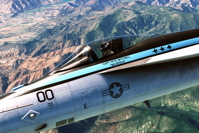 A Top Gun: Maverick themed F/A-18 skin shown in Microsoft Flight Simulator.