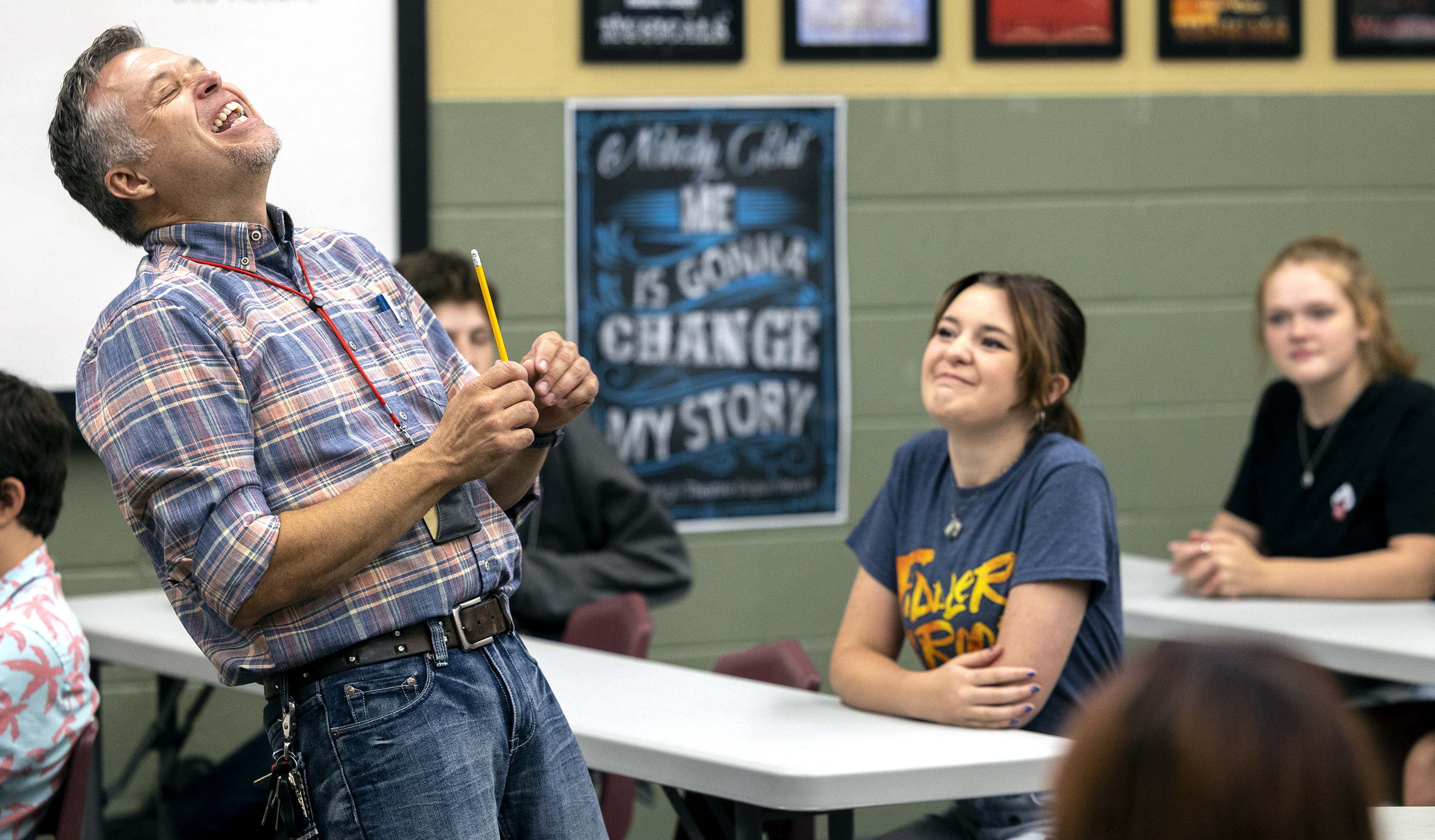 Weber High School theater teacher Mark Daniels laughs as he teaches a beginning theater class at the school in Pleasant View, Weber County, on Friday, Sept. 3, 2021. Daniels has been named 2022 Utah Teacher of the Year.