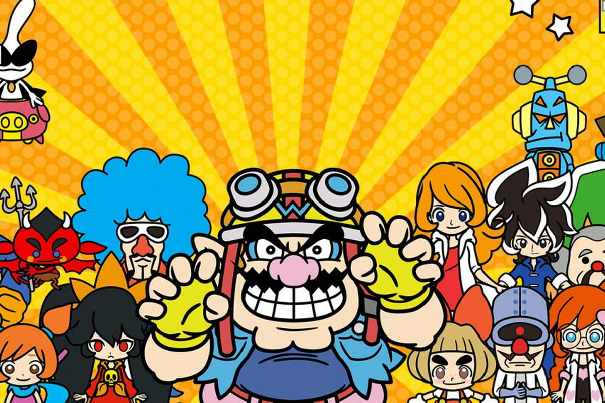 WarioWare Gold - Wario and his cast of friends are arranged against a bright yellow background