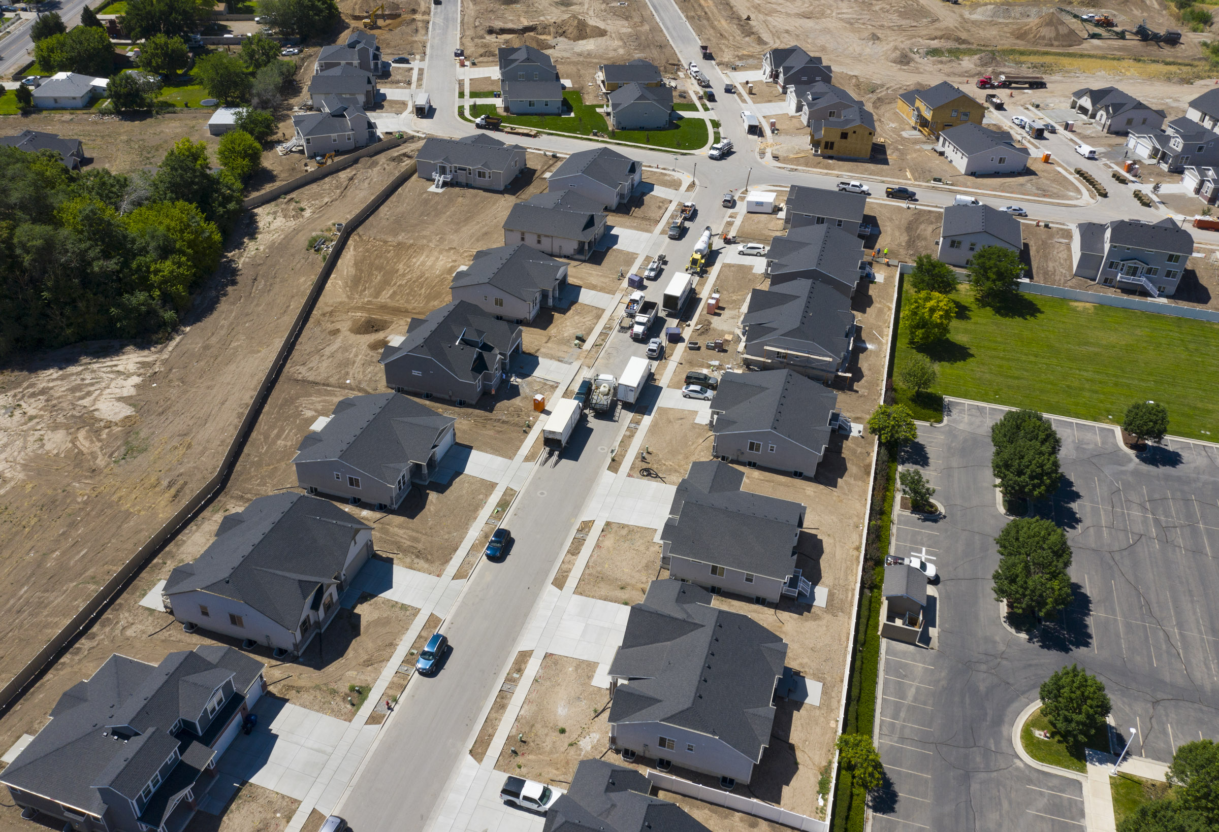 Homes under construction in Magna.
