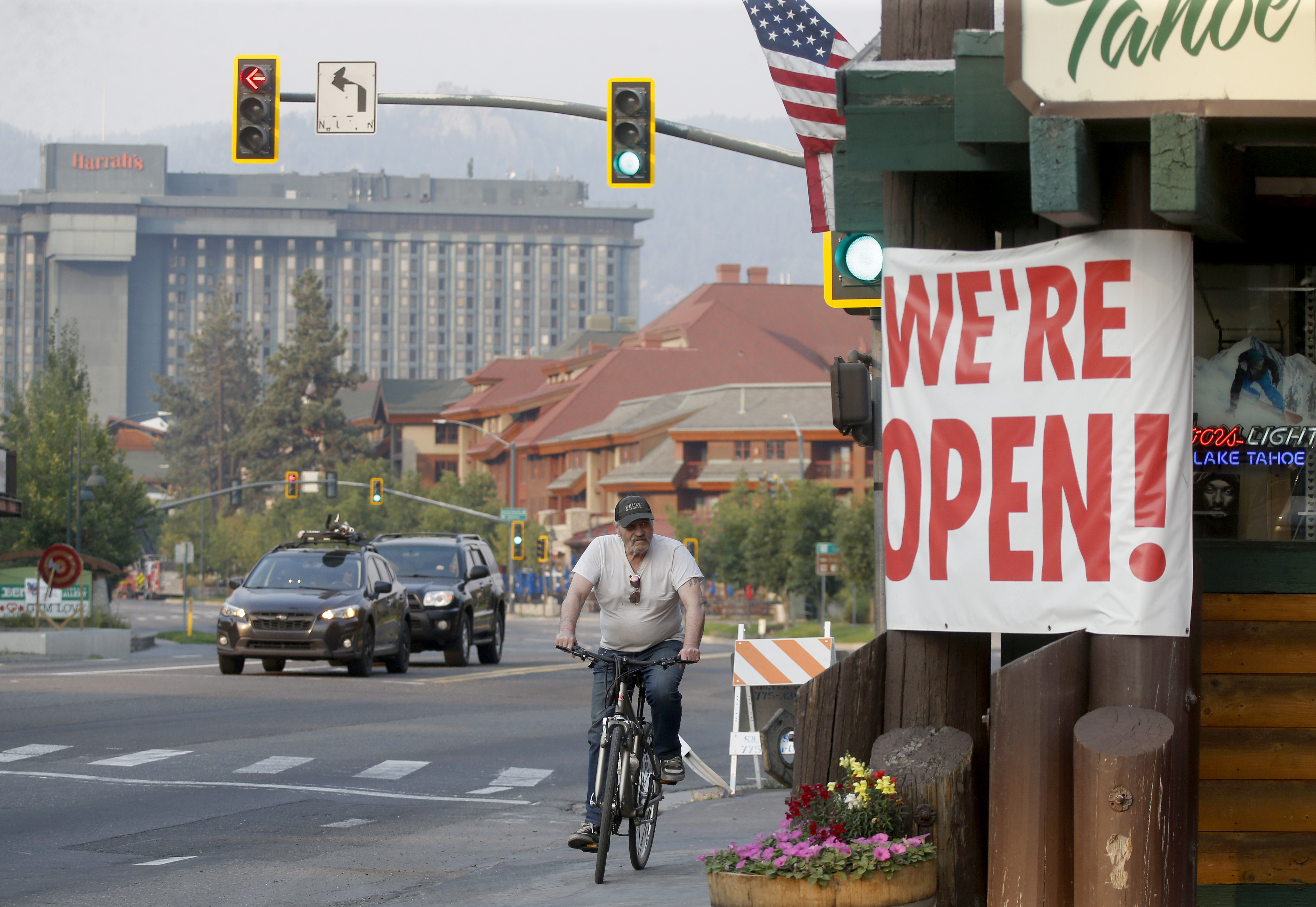 Traffic flows along Highway 50 near Stateline, Nevada as residents begin to return to South Lake Tahoe, Calif., on Sunday, Sept. 5, 2021. Cal Fire officials downgraded some evacuation orders near Lake Tahoe and allowed thousands of South Lake Tahoe residents who fled the Caldor Fire last week to return home Sunday.