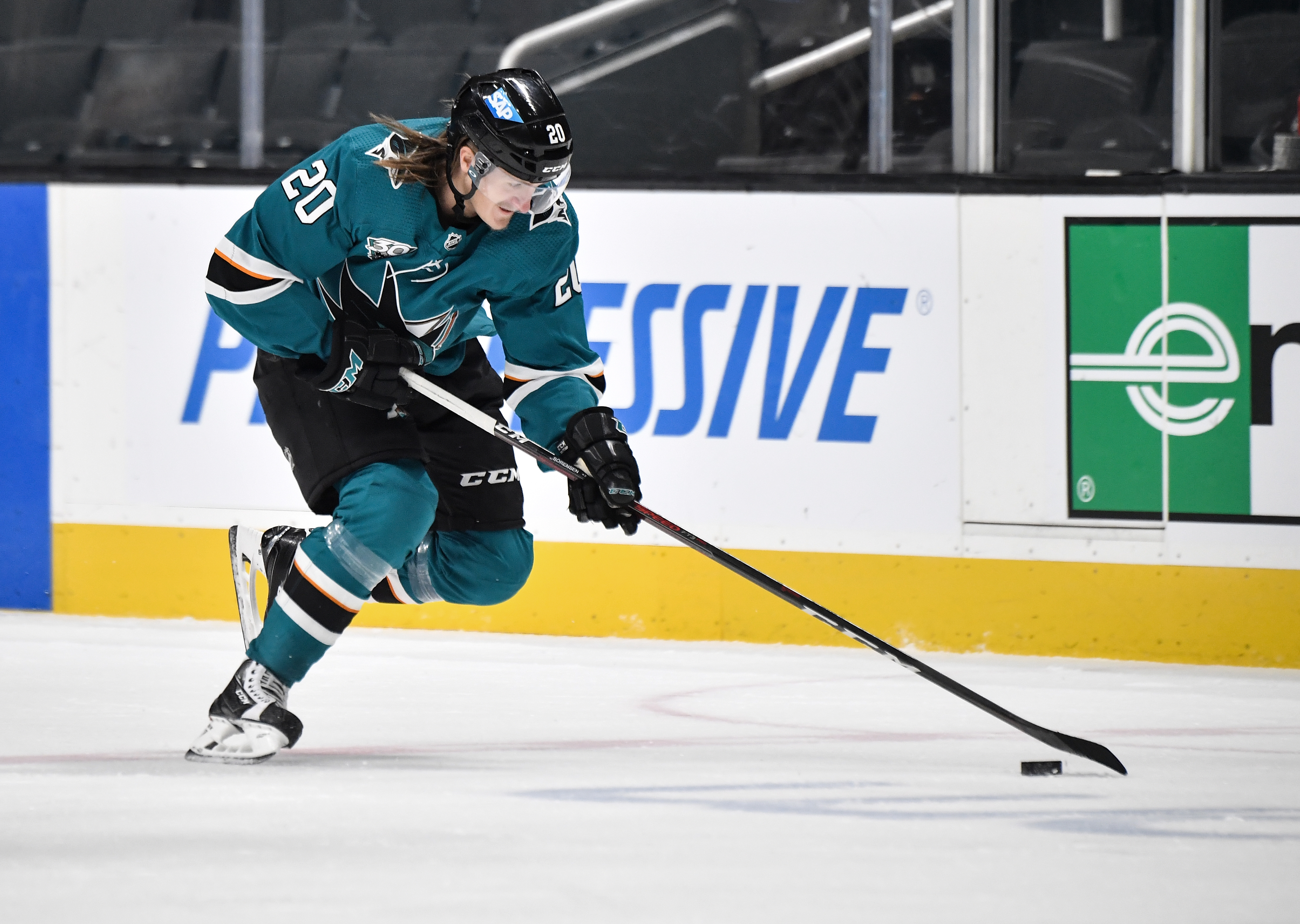 Marcus Sorensen #20 of the San Jose Sharks skates with the puck against the Anaheim Ducks at SAP Center on April 12, 2021 in San Jose, California.