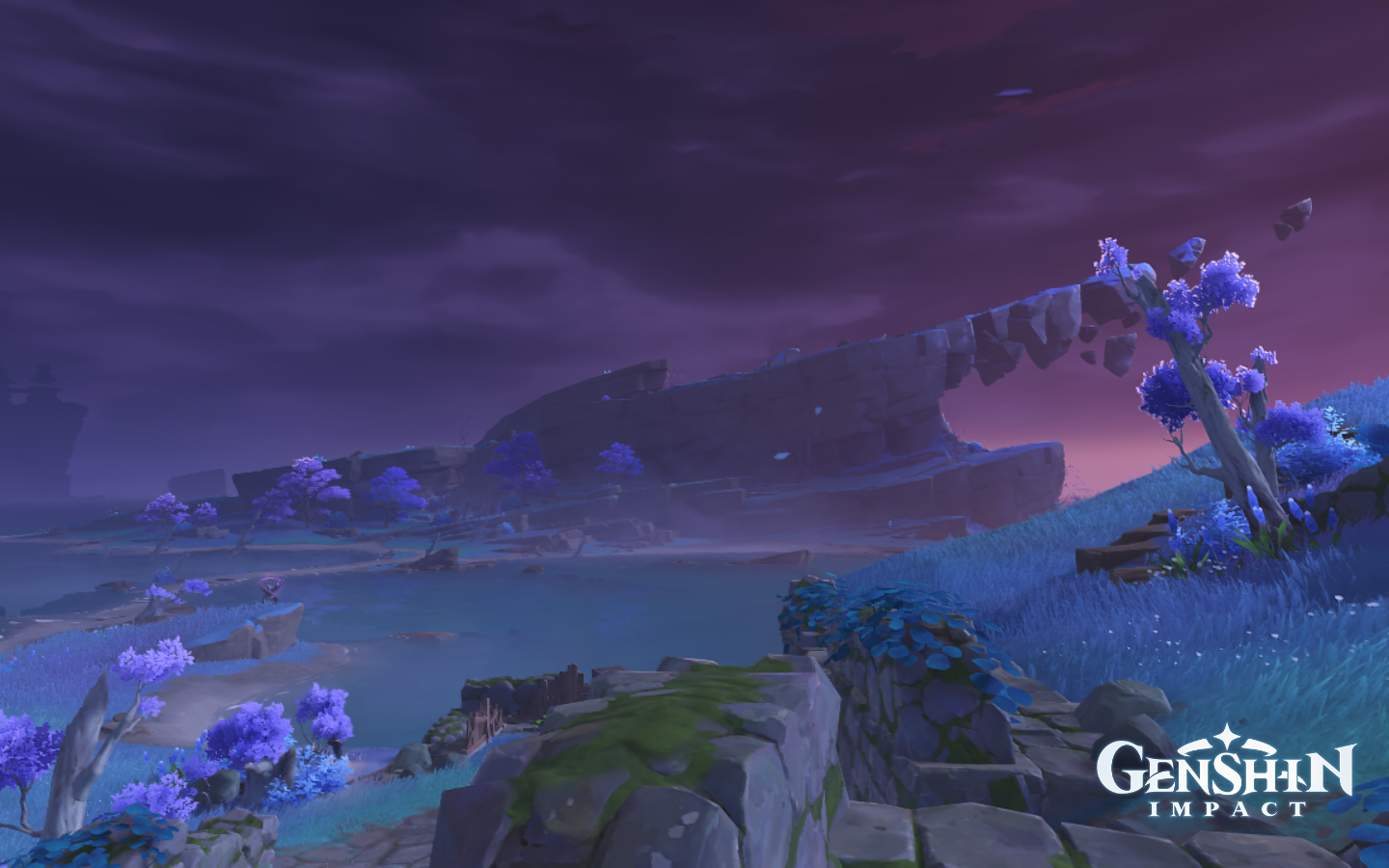 A view of a pointy cliff surrounded in a purple hue in Genshin Impact