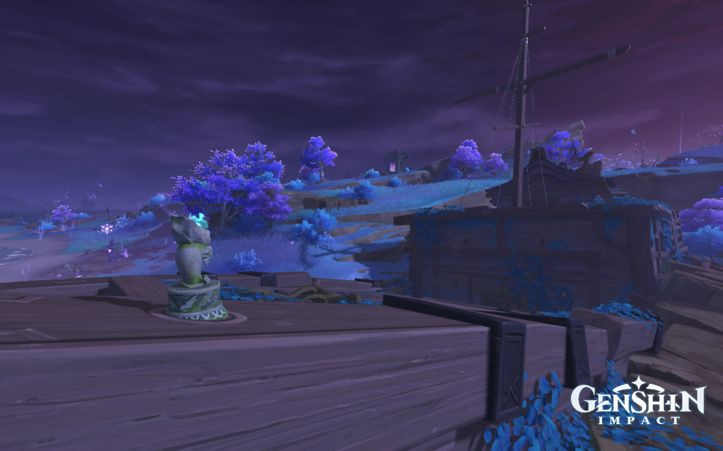 A stranded deserted ship in Genshin Impact with a purple hue on it