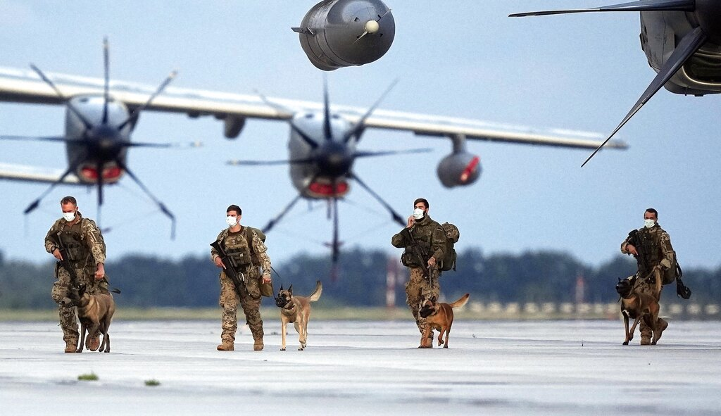 German soldiers arrive in Wunstorf with dogs after they finished the evacuation mission in Kabul, Afghanistan.