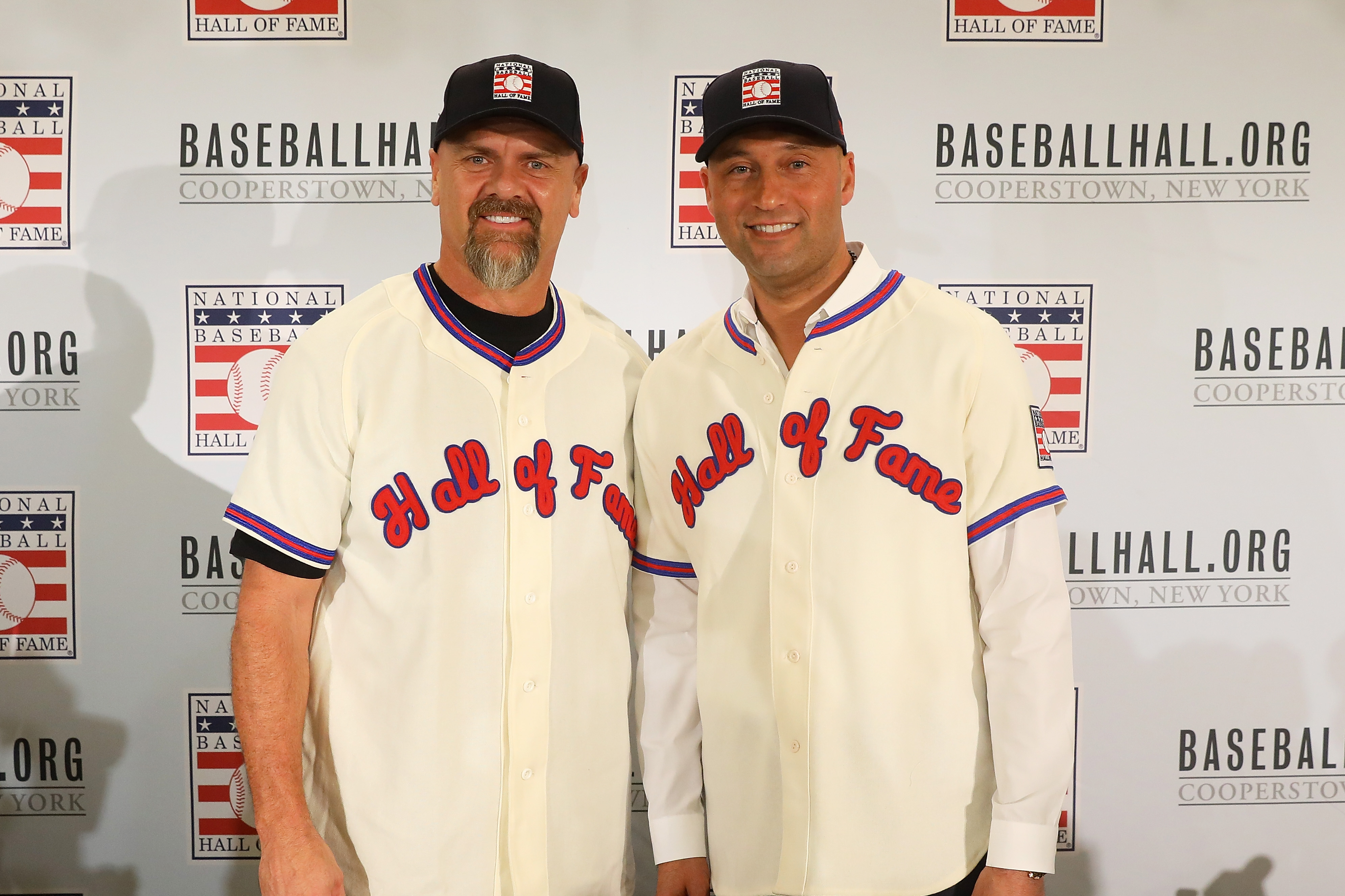 Larry Walker and Derek Jeer pose for a photo after being elected into the National Baseball Hall of Fame Class of 2020 on January 22, 2020 at the St. Regis Hotel in New York City.