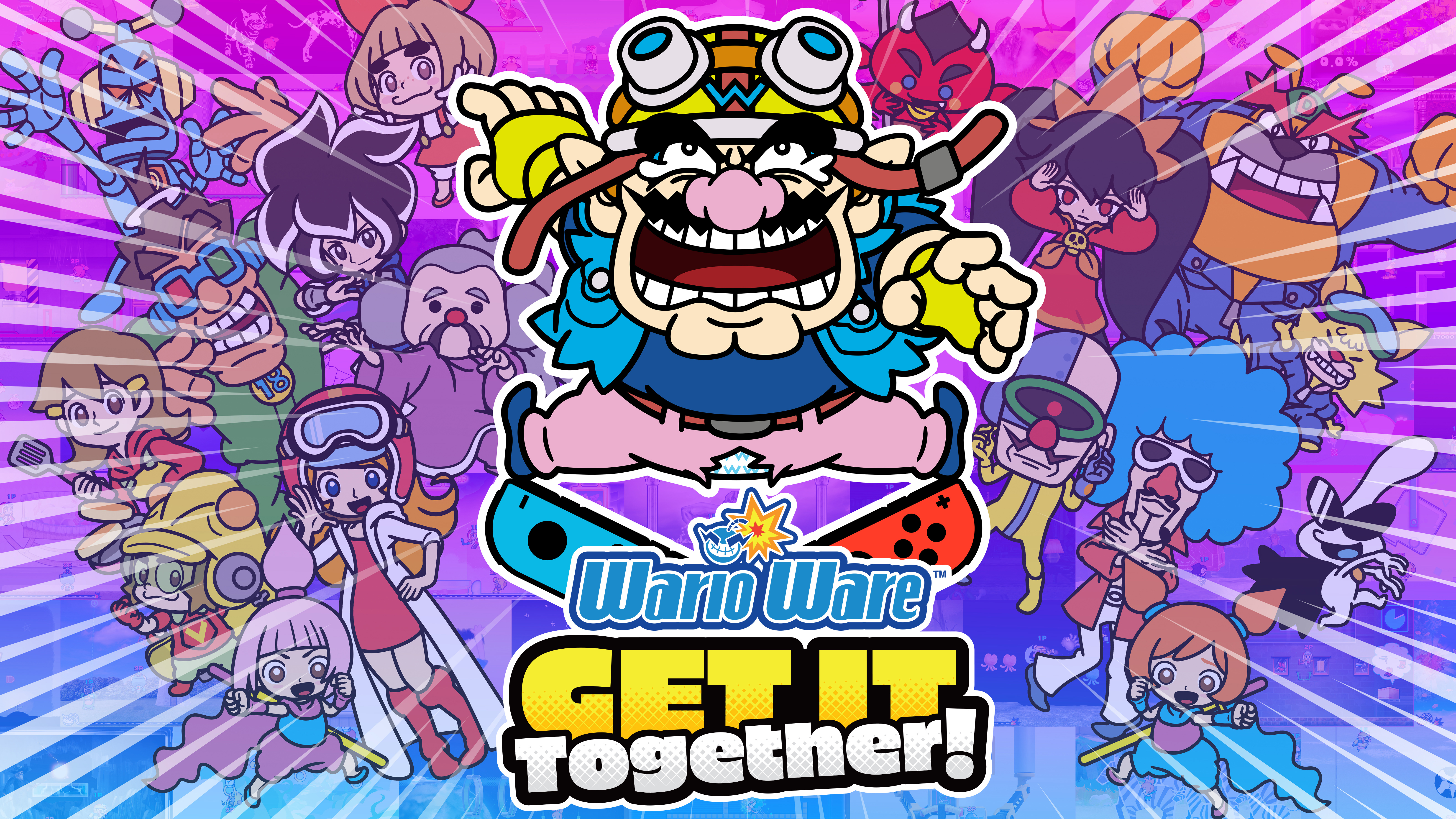 key art for WarioWare: Get It Together! featuring the game's logo, Wario, red and blue Nintendo Switch Joy-Cons, and all kinds of WarioWare characters