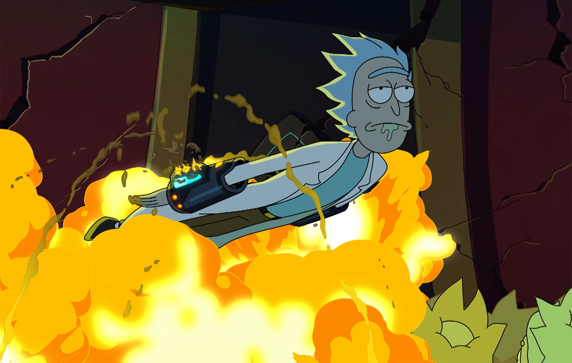 Rick flying away as a hail of explosion decimates a crowd of people underneath him.