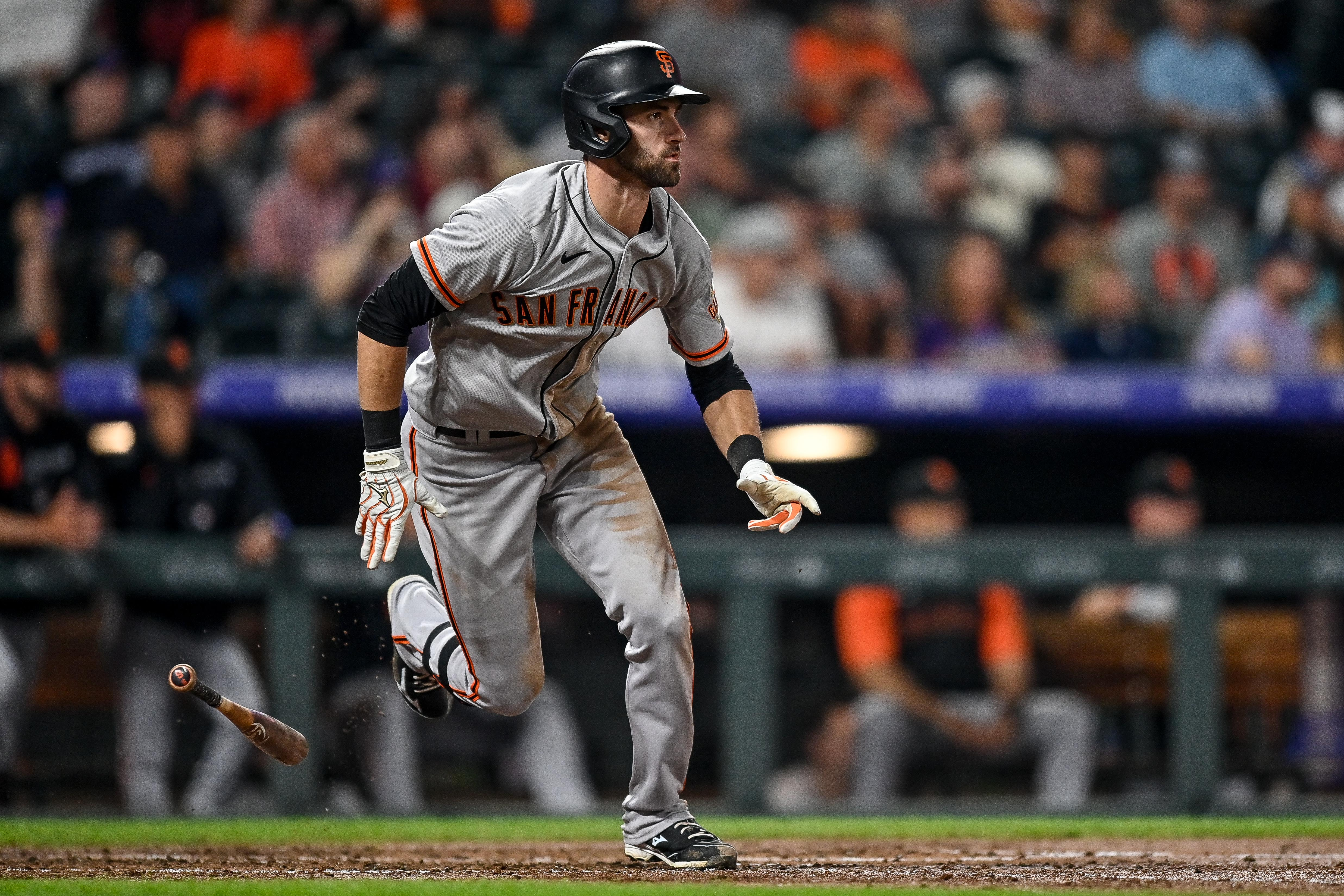 Steven Duggar #6 of the San Francisco Giants follows through after hitting a fourth inning double against the Colorado Rockies at Coors Field on September 7, 2021 in Denver, Colorado.