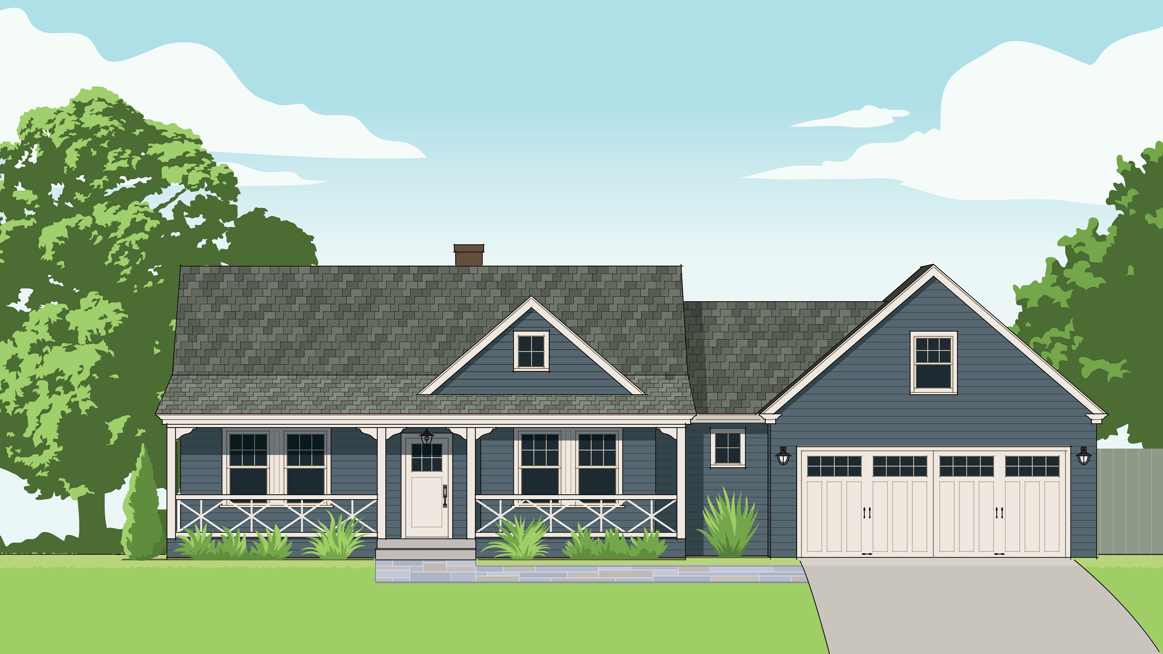 Fall 2021 Curb Appeal, 1950s Cape remodel illustration