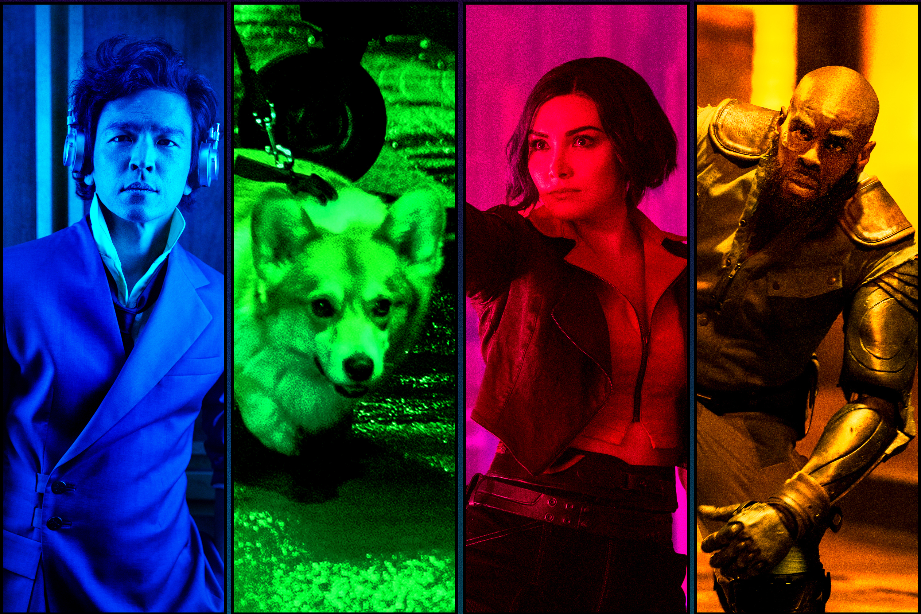 Graphic grid of four brightly colored images from Cowboy Bebop in blue, green, red and yellow