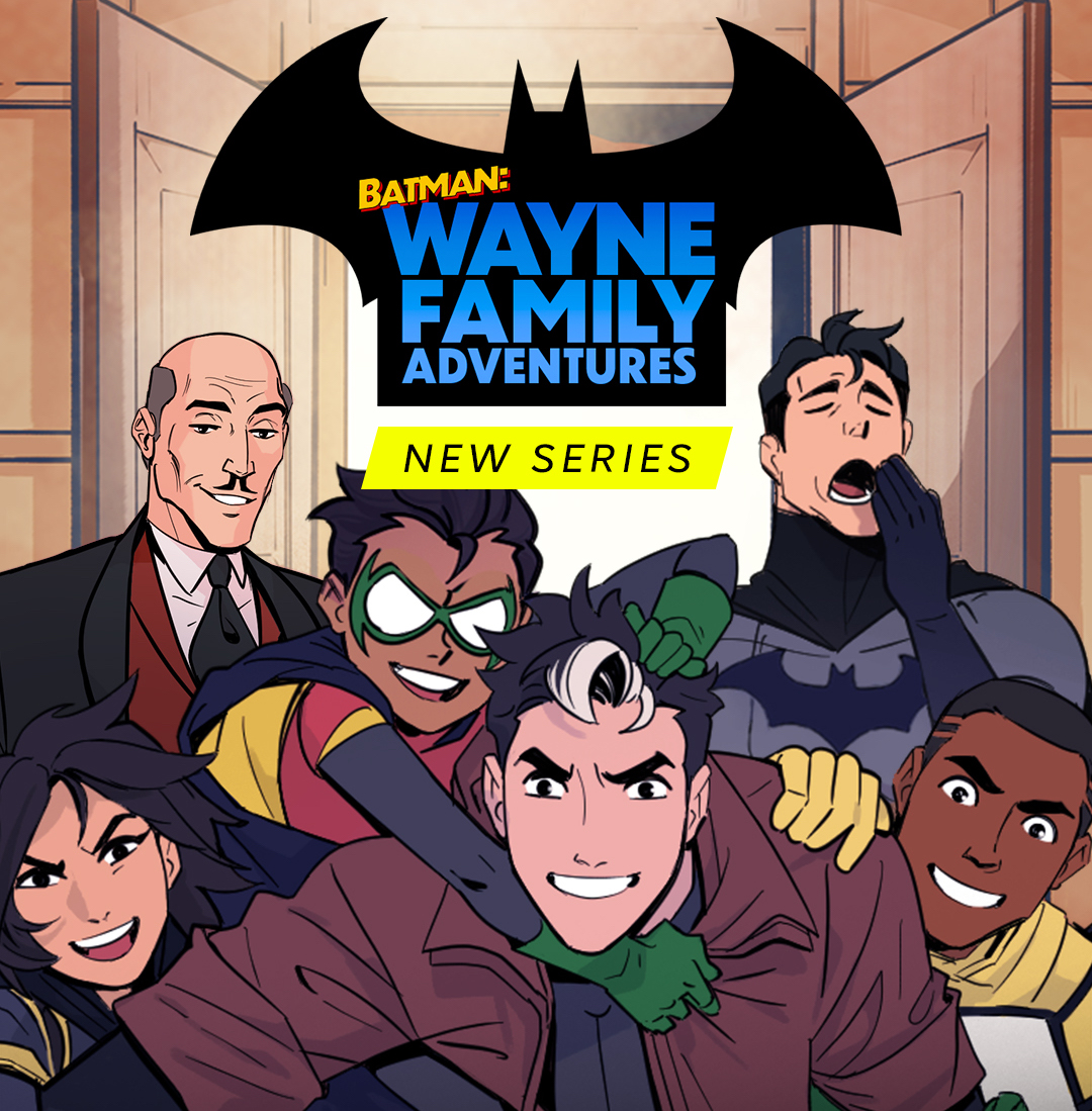 Alfred and Bruce Wayne (yawning) stand behind Cassandra Cain, Damian Wayne, Jason Todd, and Duke Thomas, who are all piling on each other and grinning in promotional art for Batman: Wayne Family Adventures on Webtoon.
