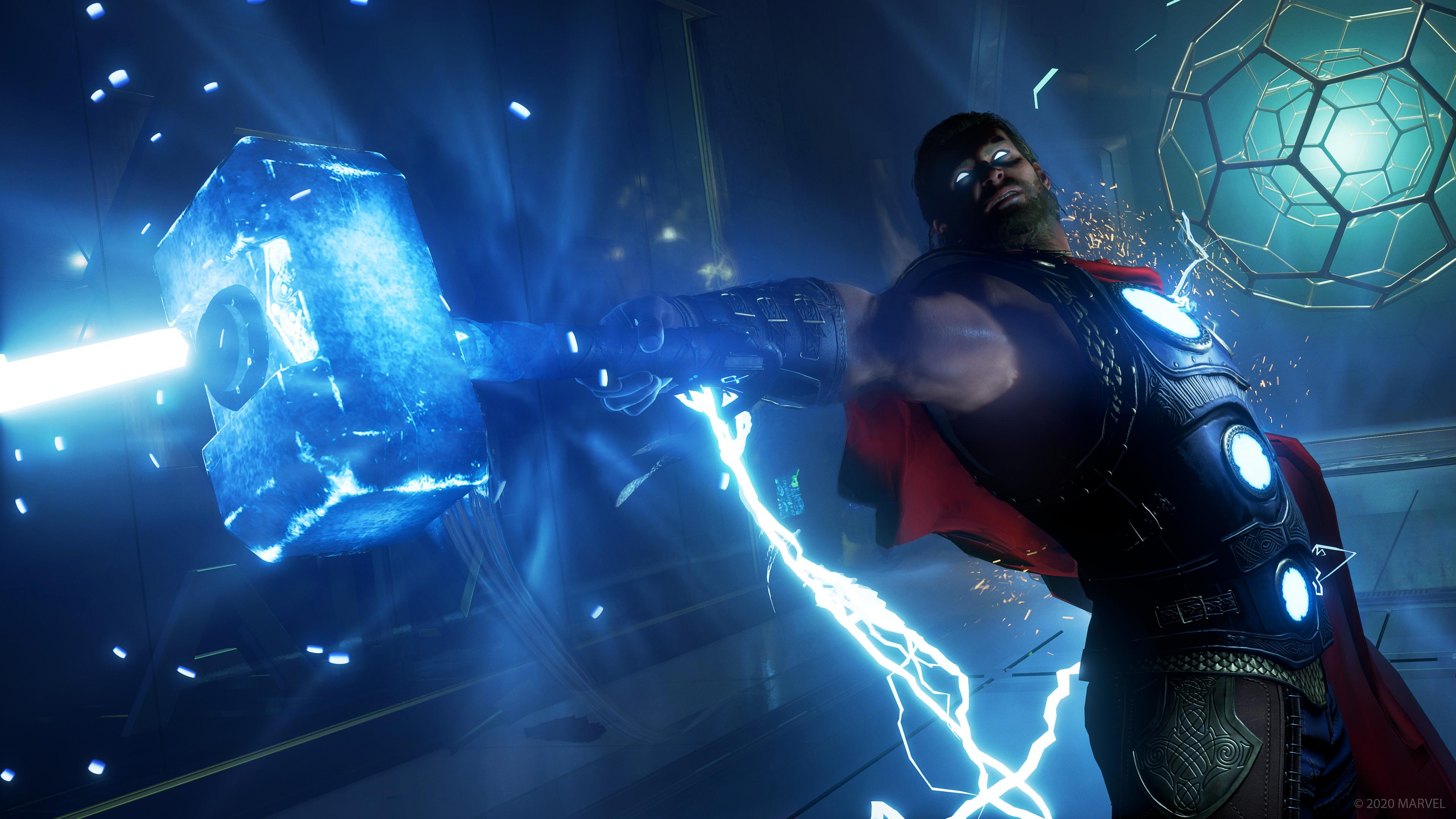 Thor holding out Mjolnir in Marvel's Avengers