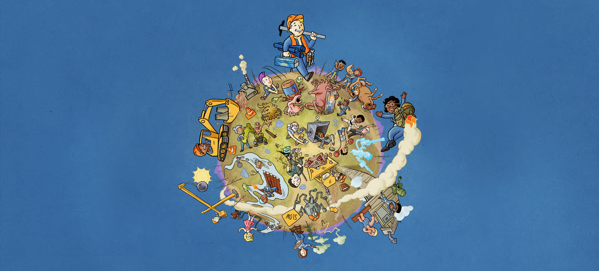 Fallout 76 - key art for Fallout Worlds, which shows a Vault Boy grinning and walking around a customizable world full of hijinx