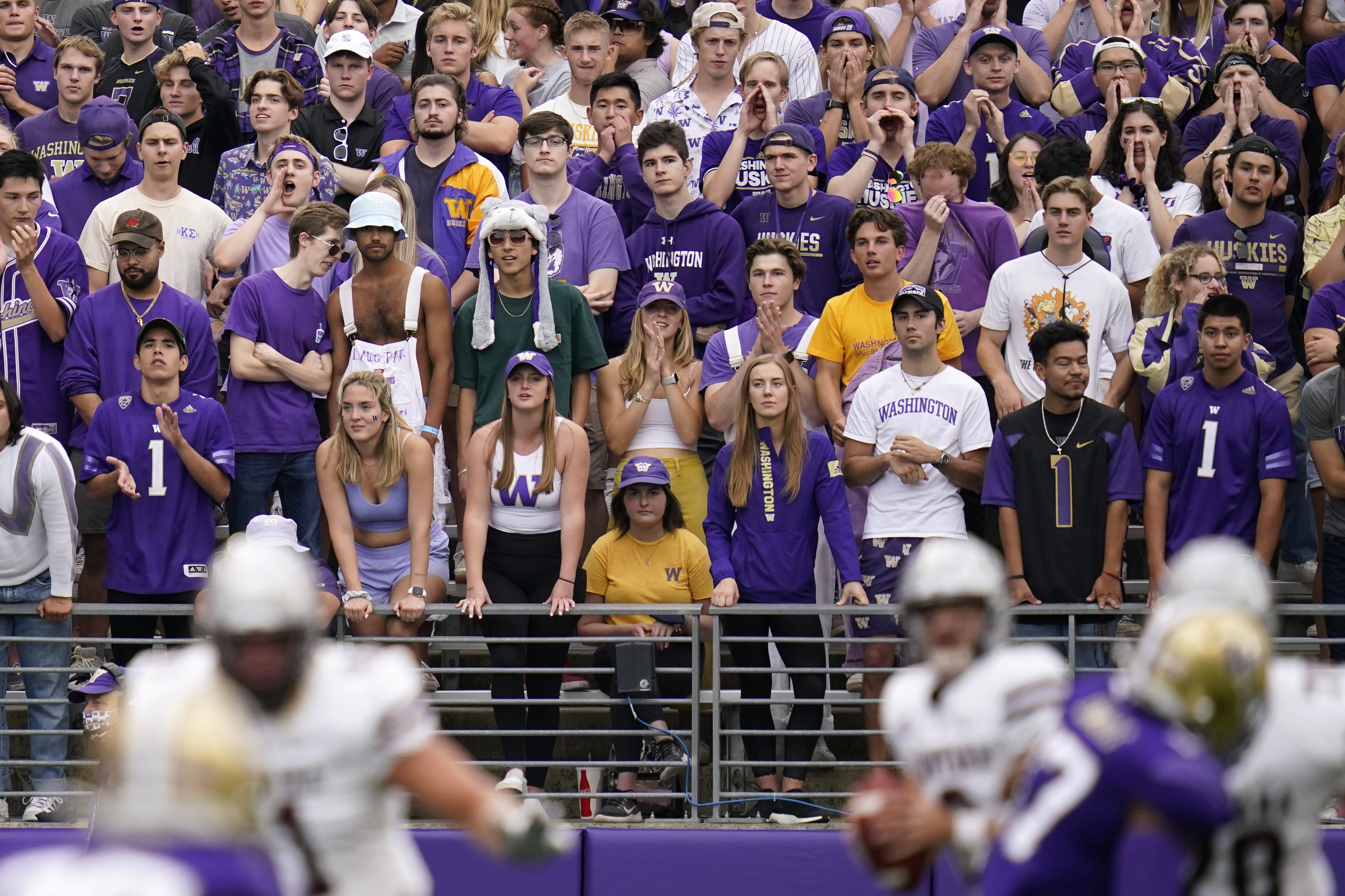 Washington fans look on from the student section during game against Montana Saturday, Sept. 4, 2021, in Seattle.