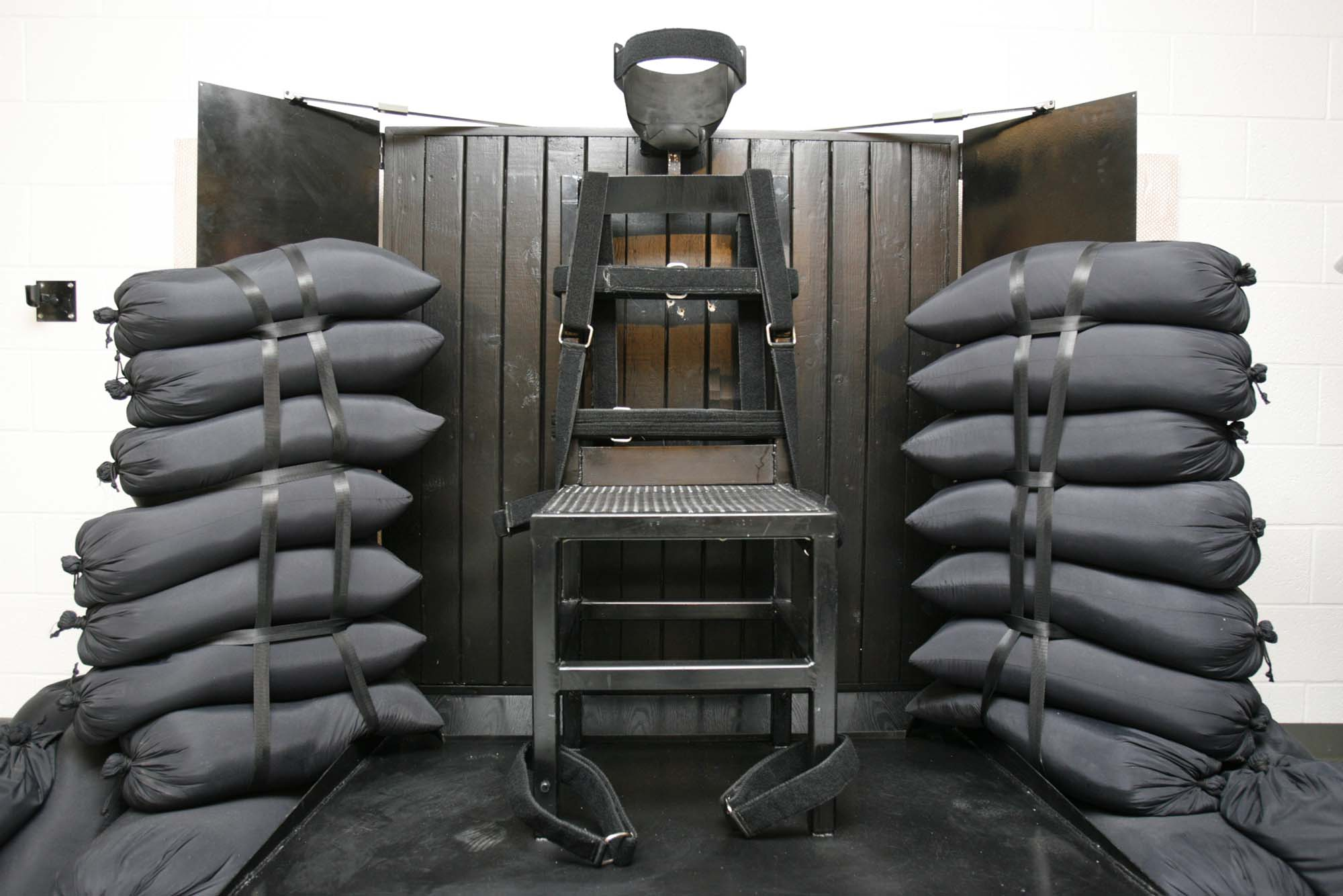 The firing squad execution chamber at the Utah State Prison.