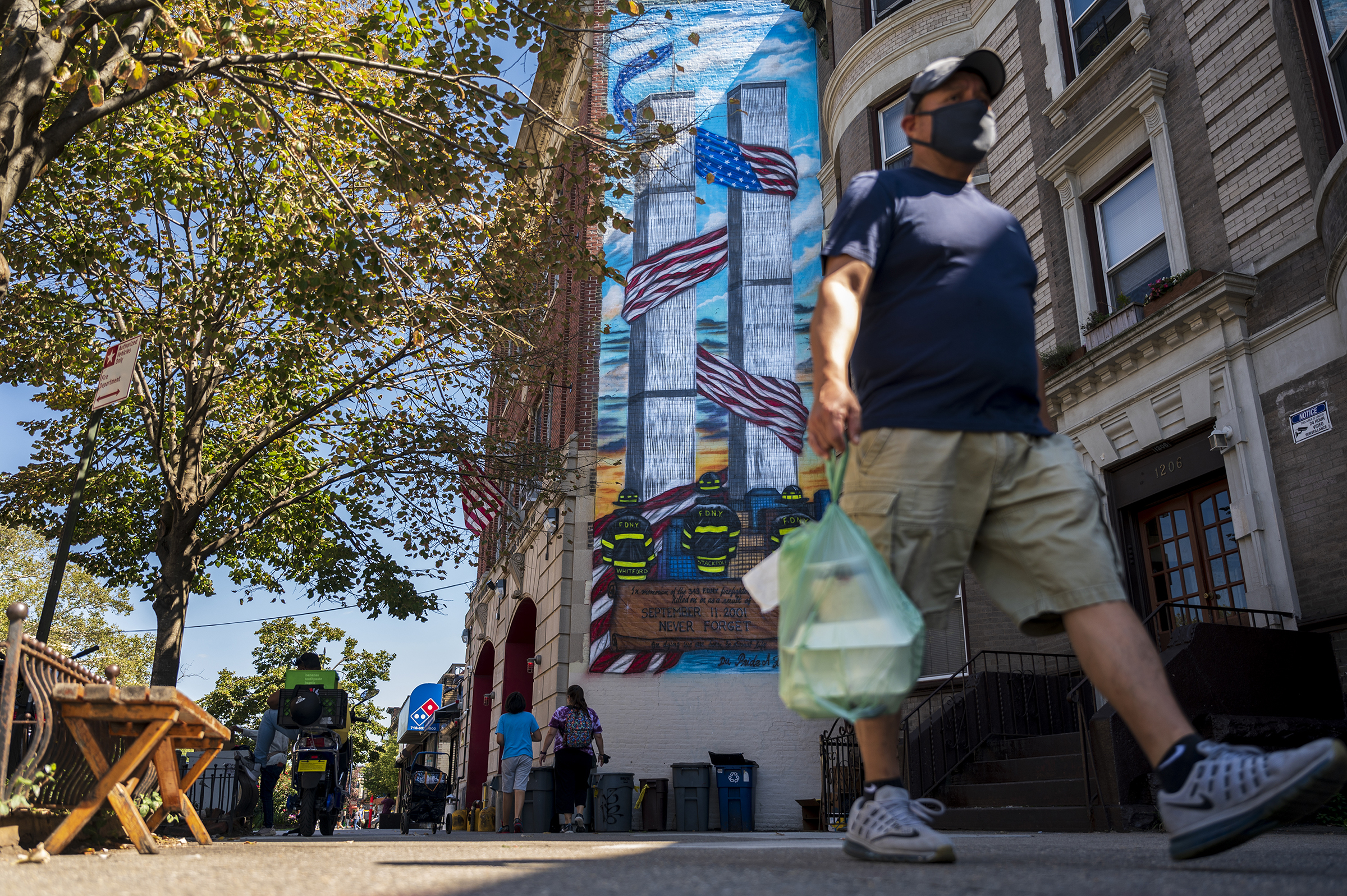 A recently painted mural in memoriam of firefighters who died on the Sept. 11 attacks outside of FDNY Ladder 147 in Ditmas Park.