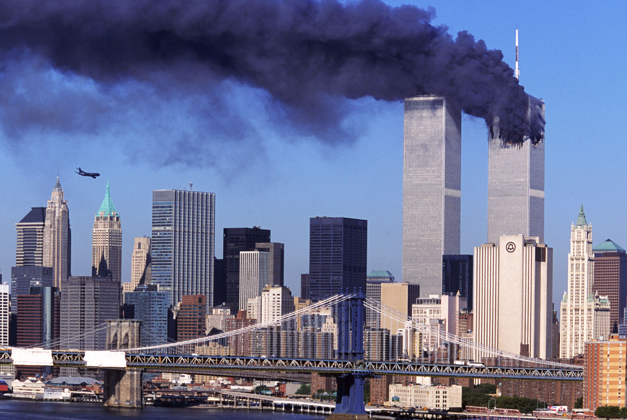 Hijacked United Airlines Flight 175 flies toward the south tower of the World Trade Center on Tuesday, Sept, 11, 2001.