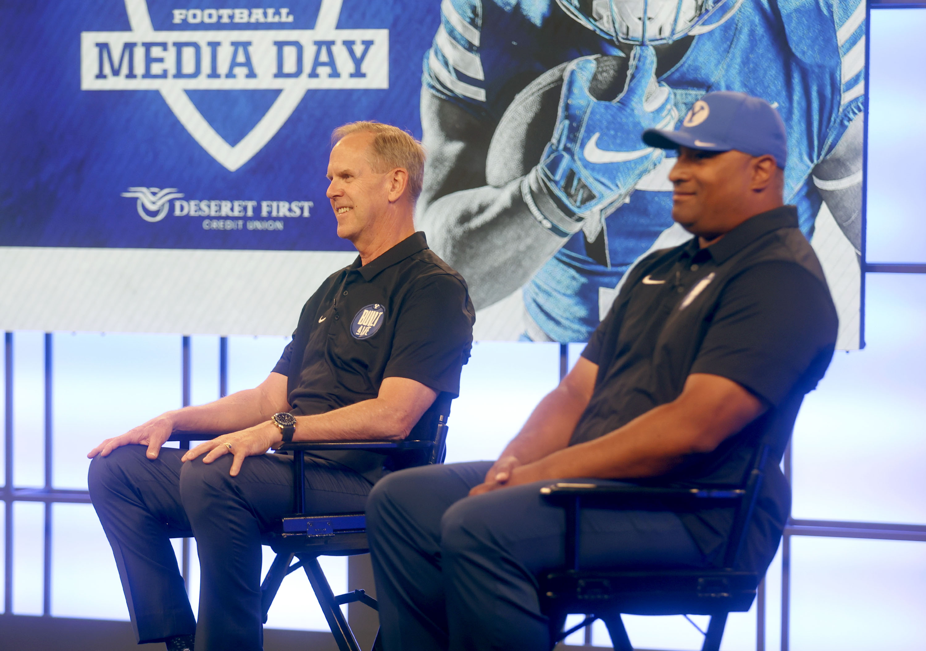 BYU athletic director Tom Holmoe and football coach Kalani Sitake answer questions during BYU football media day in Provo.